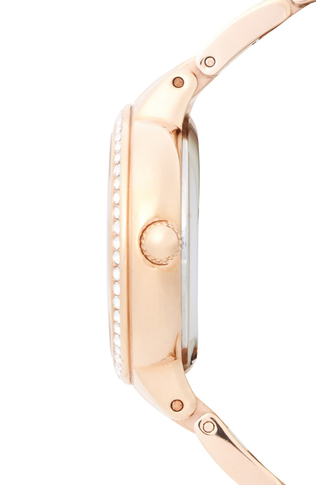 FOSSIL, 'Virginia' Crystal Accent Bracelet Watch, 30mm, Alternate thumbnail 4, color, ROSE GOLD/ WHITE/ ROSE GOLD