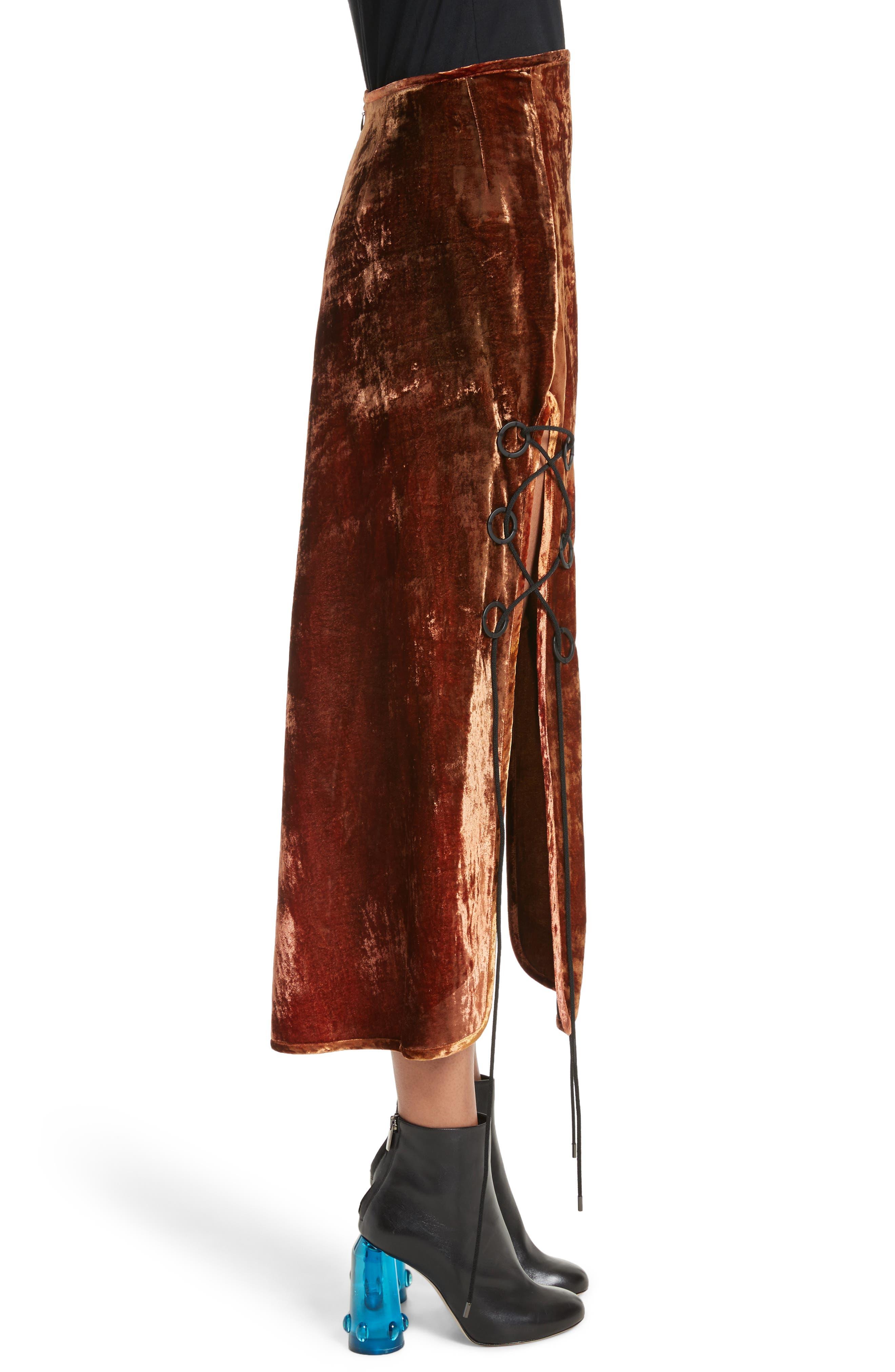 ELLERY, The Blues Lace Up Crushed Velvet Midi Skirt, Alternate thumbnail 3, color, 800