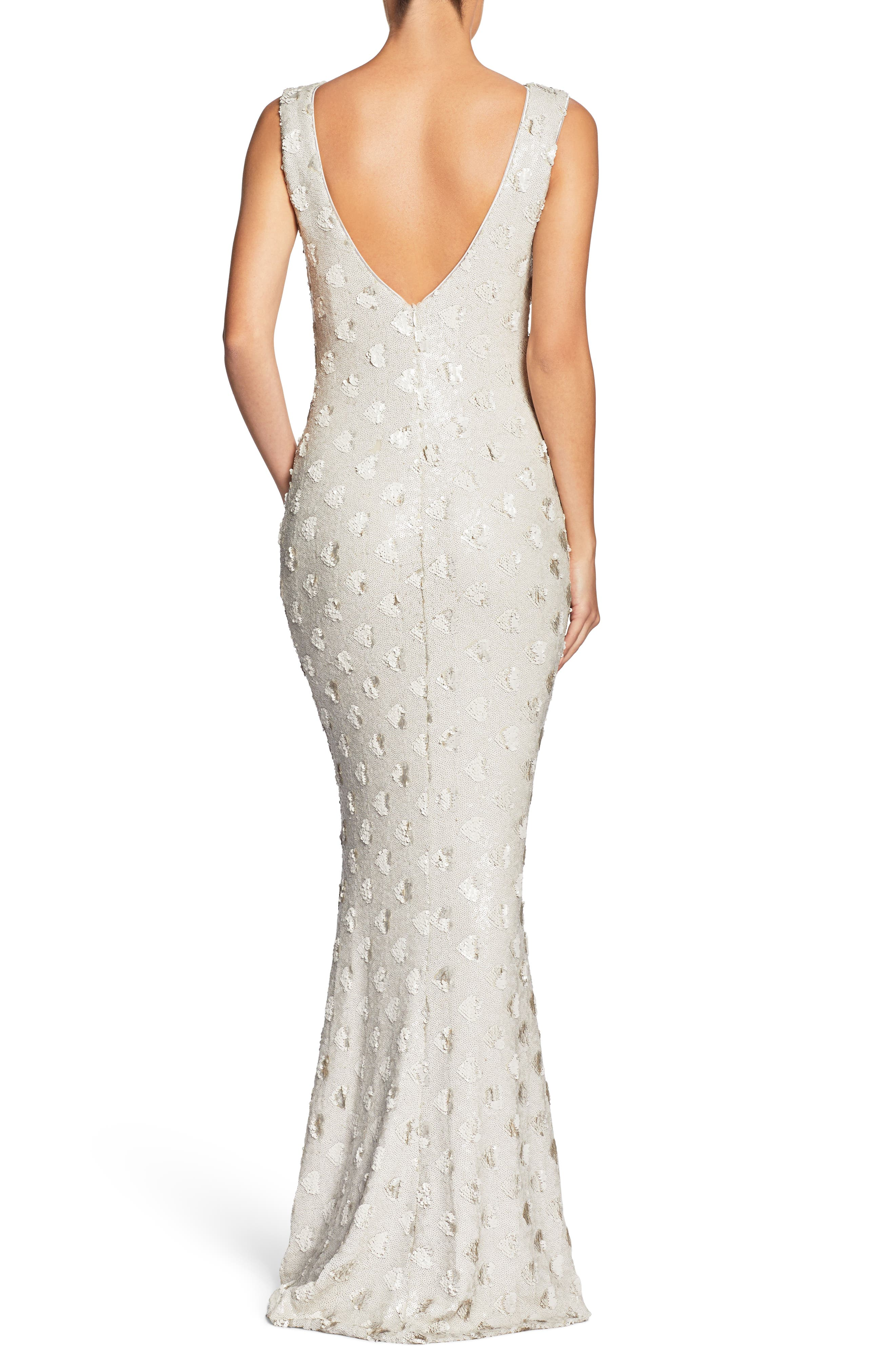 DRESS THE POPULATION, Yvette Sequin Trumpet Gown, Alternate thumbnail 2, color, 102