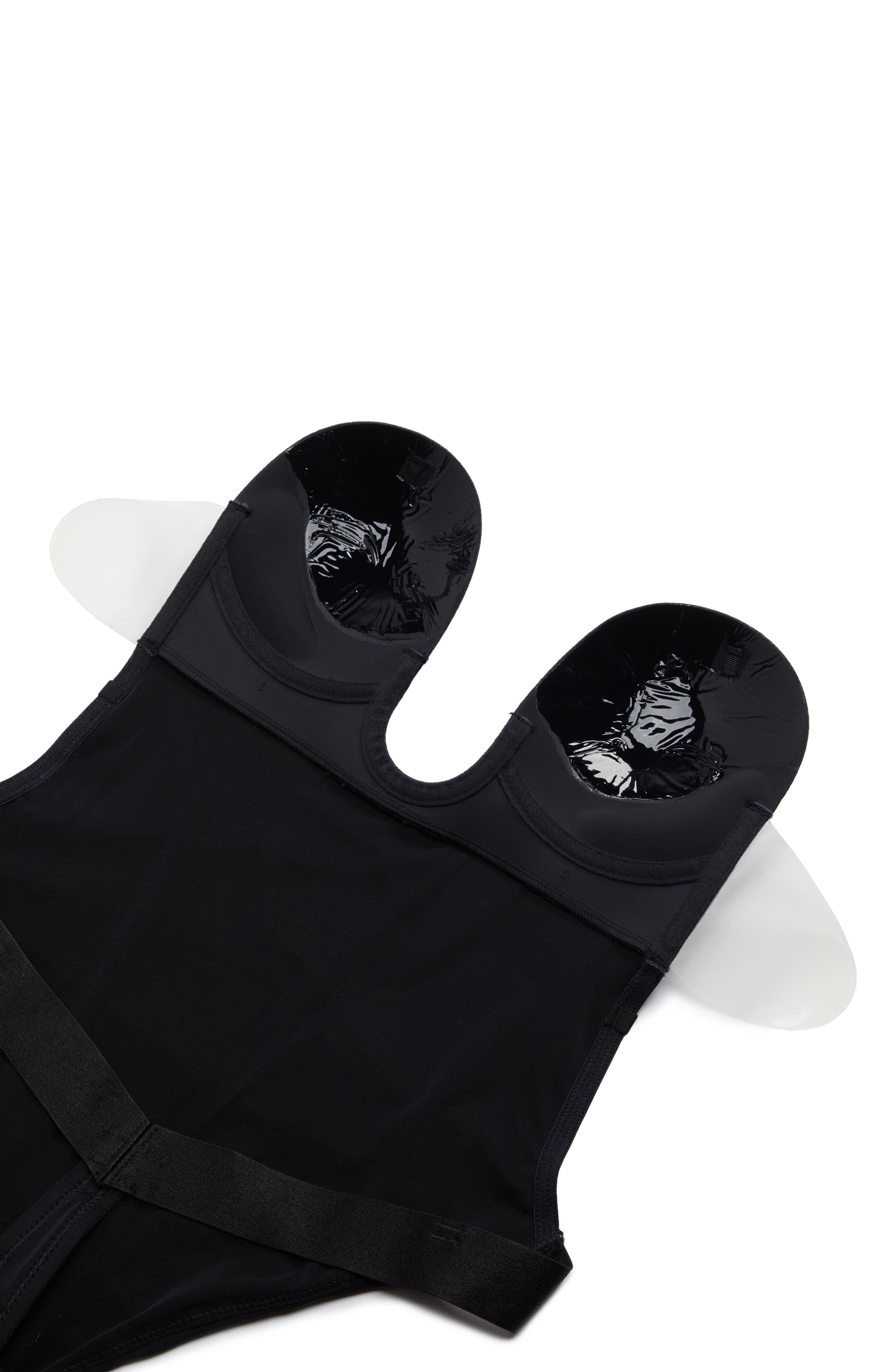 NORDSTROM LINGERIE, U-Plunge Backless Strapless Underwire Bodysuit, Alternate thumbnail 6, color, BLACK