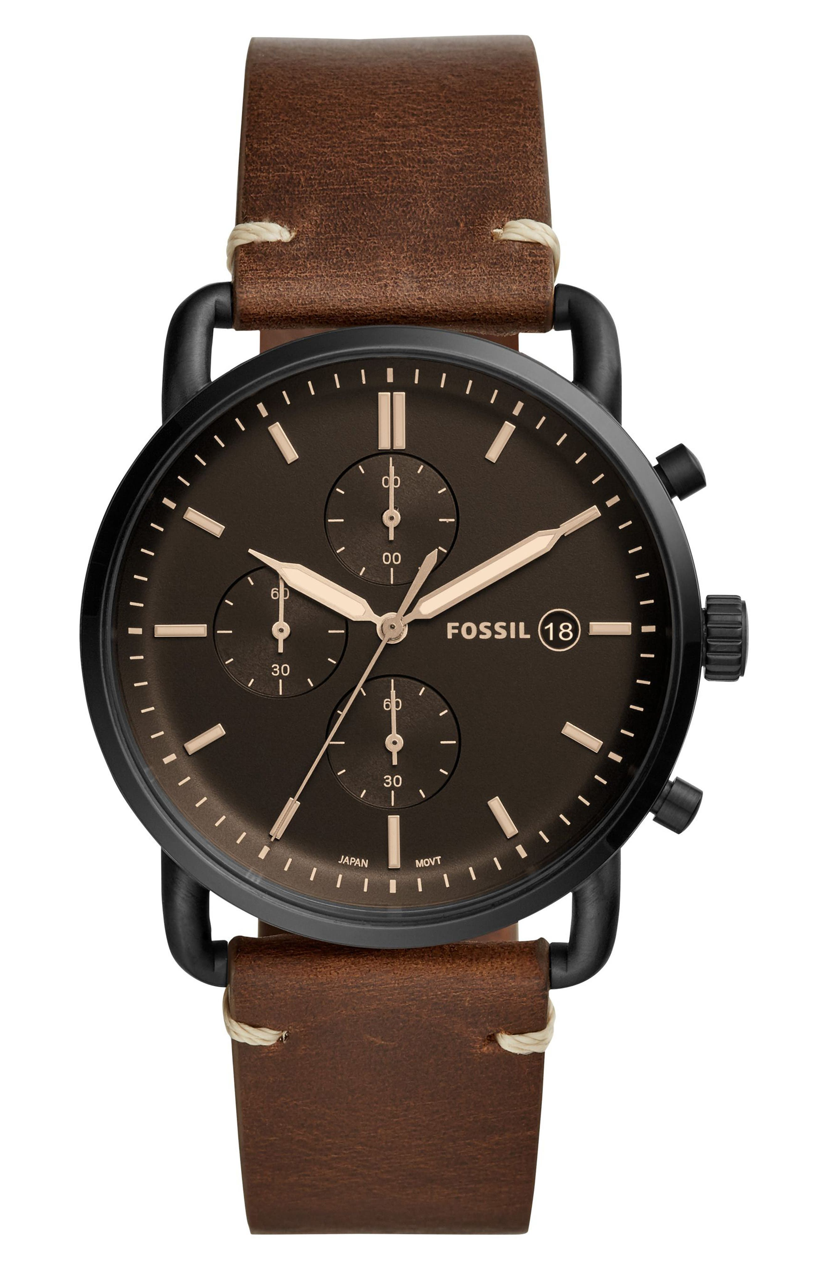FOSSIL, The Commuter Chronograph Leather Strap Watch, 42mm, Main thumbnail 1, color, BROWN/ BLACK