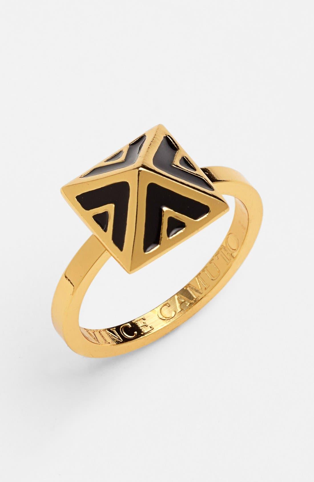 VINCE CAMUTO, 'Micro Geometry' Enamel Pyramid Ring, Main thumbnail 1, color, 001