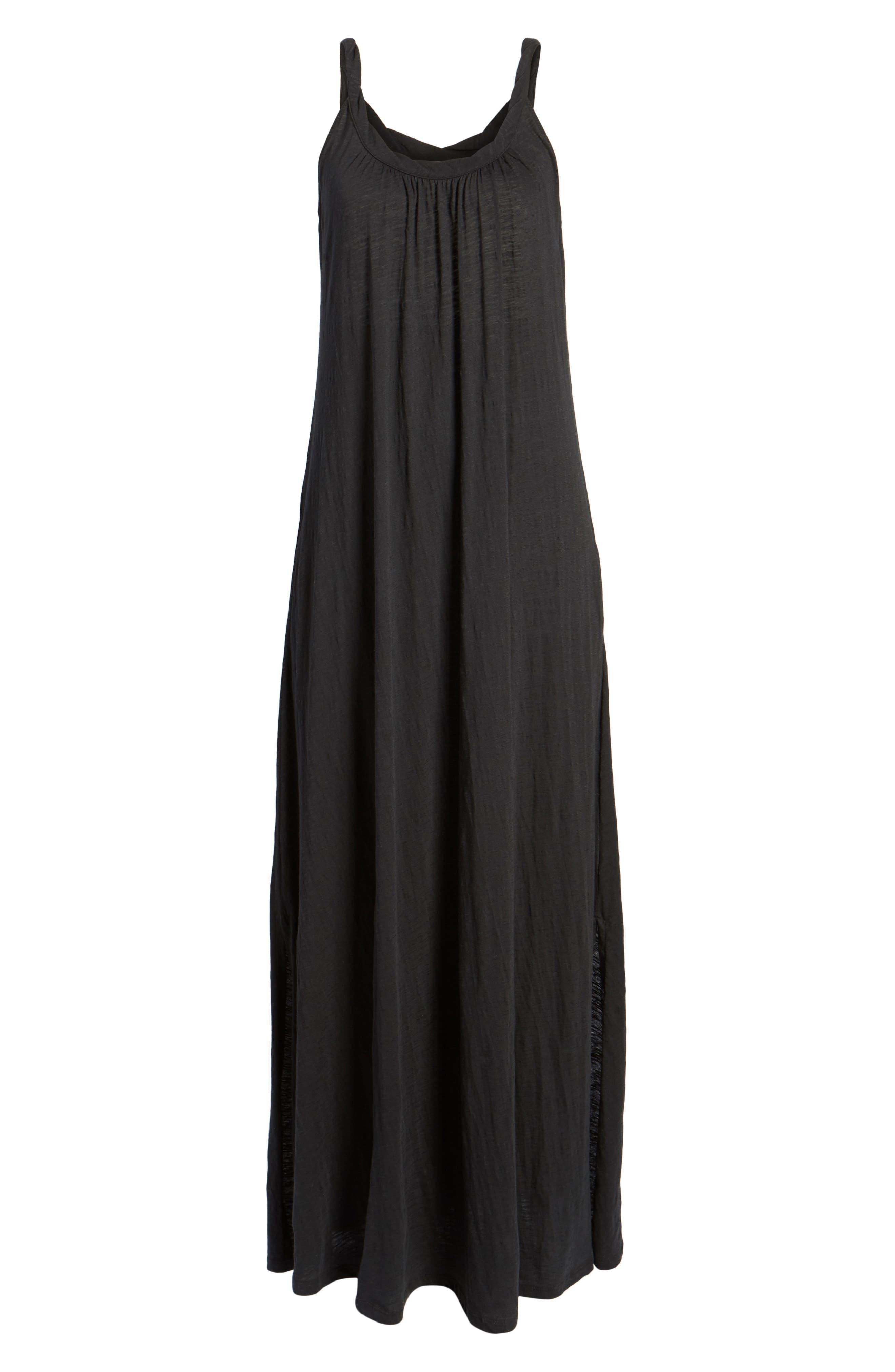CASLON<SUP>®</SUP>, Twist Neck Maxi Dress, Alternate thumbnail 7, color, BLACK