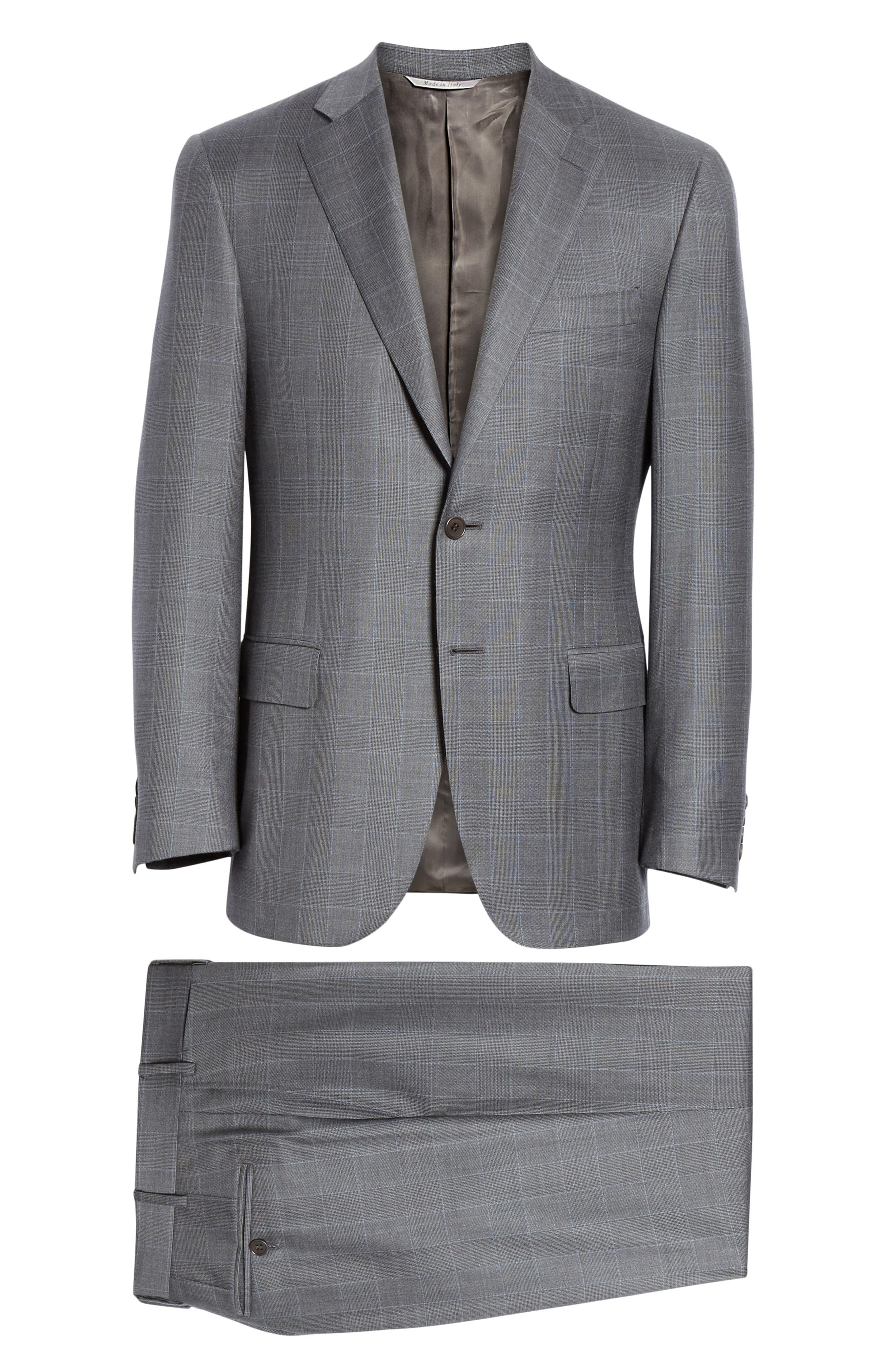 CANALI, Sienna Classic Fit Plaid Wool Suit, Alternate thumbnail 8, color, GREY