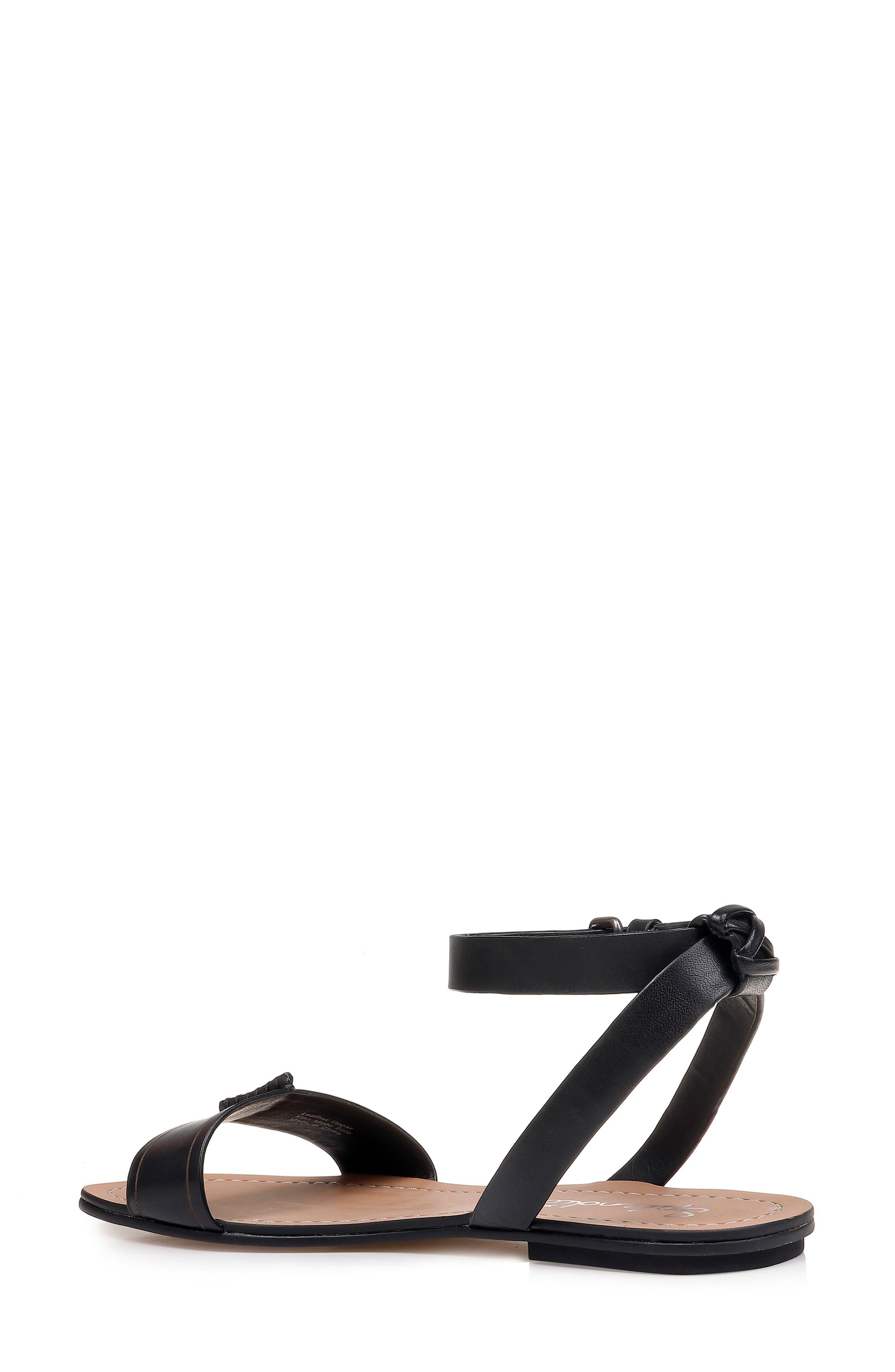 SPLENDID, Tabitha Ankle Strap Flat Sandal, Alternate thumbnail 2, color, BLACK LEATHER