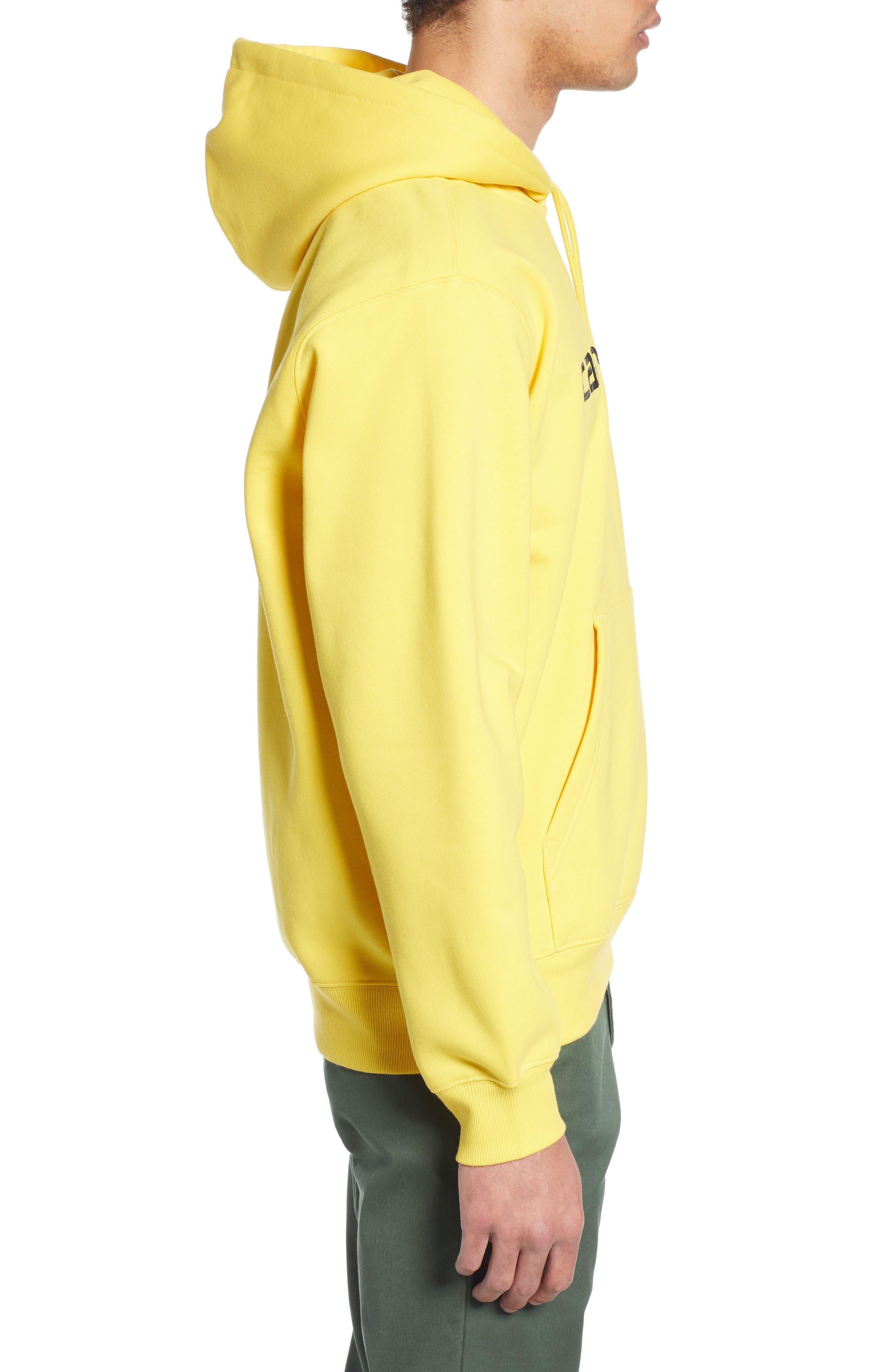 CARHARTT WORK IN PROGRESS, Hooded Sweatshirt, Alternate thumbnail 3, color, PRIMULA / BLACK