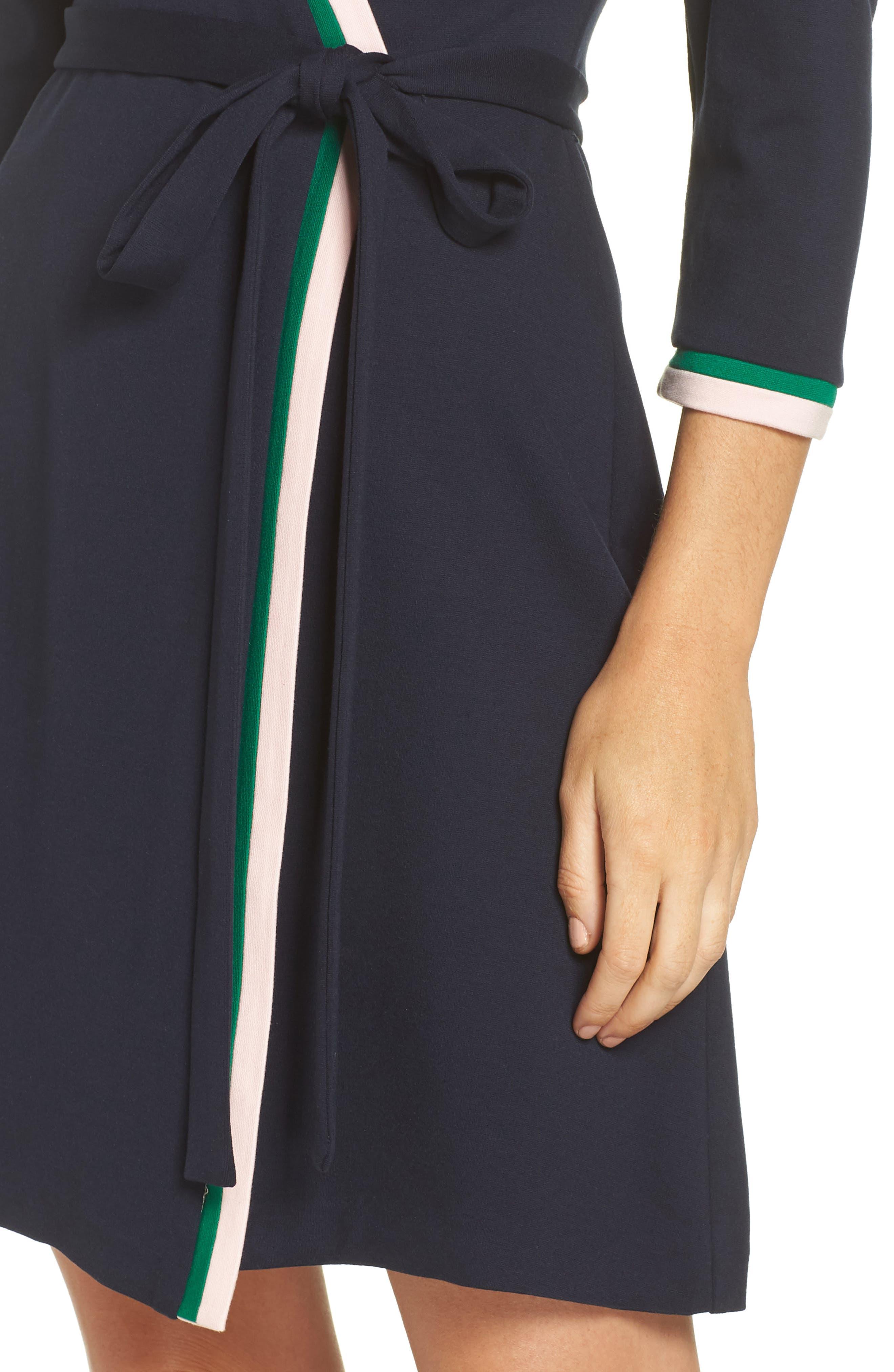 ELIZA J, Stripe Faux Wrap Dress, Alternate thumbnail 5, color, 410