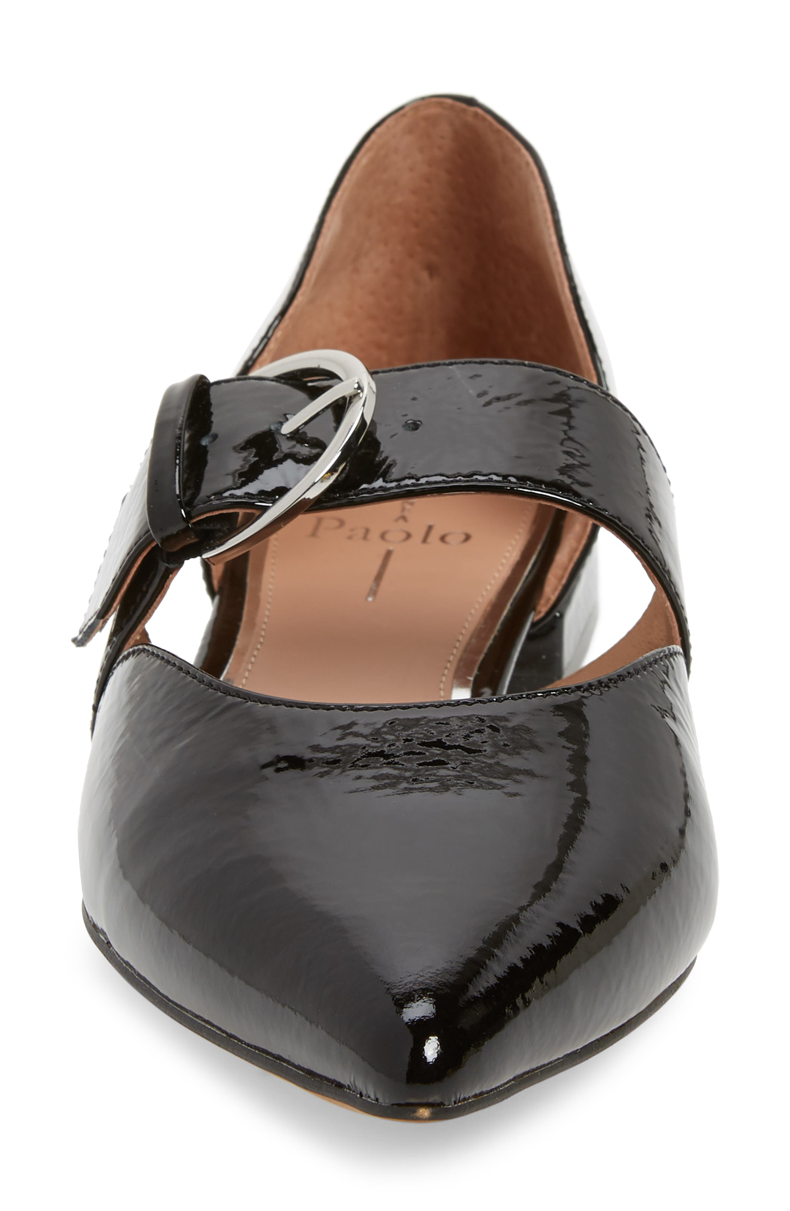 LINEA PAOLO, Dean Pointy Toe Flat, Alternate thumbnail 4, color, BLACK WRINKLE PATENT