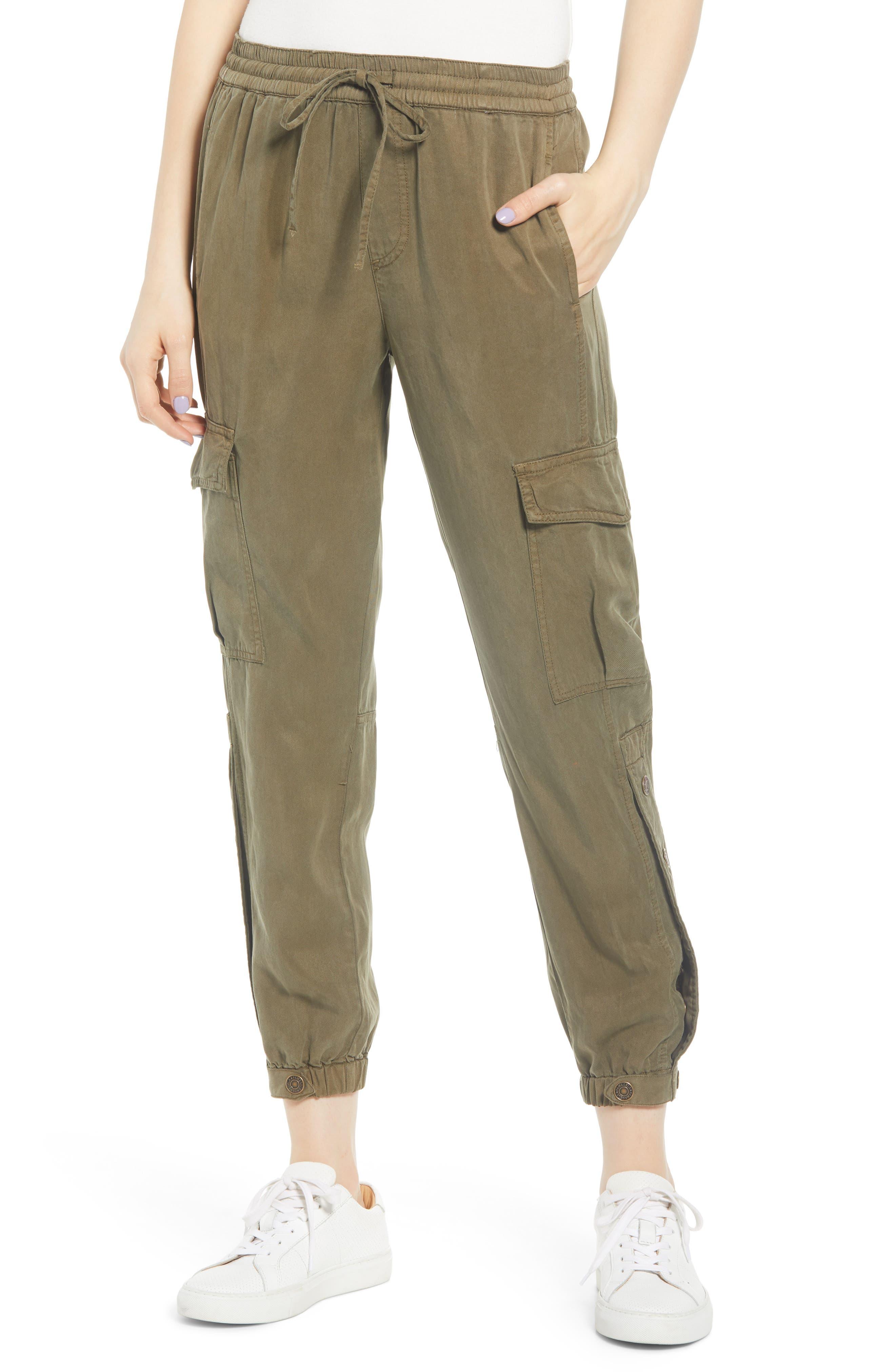 Pam & Gela Snap Leg Cargo Pants, Size Petite - Green