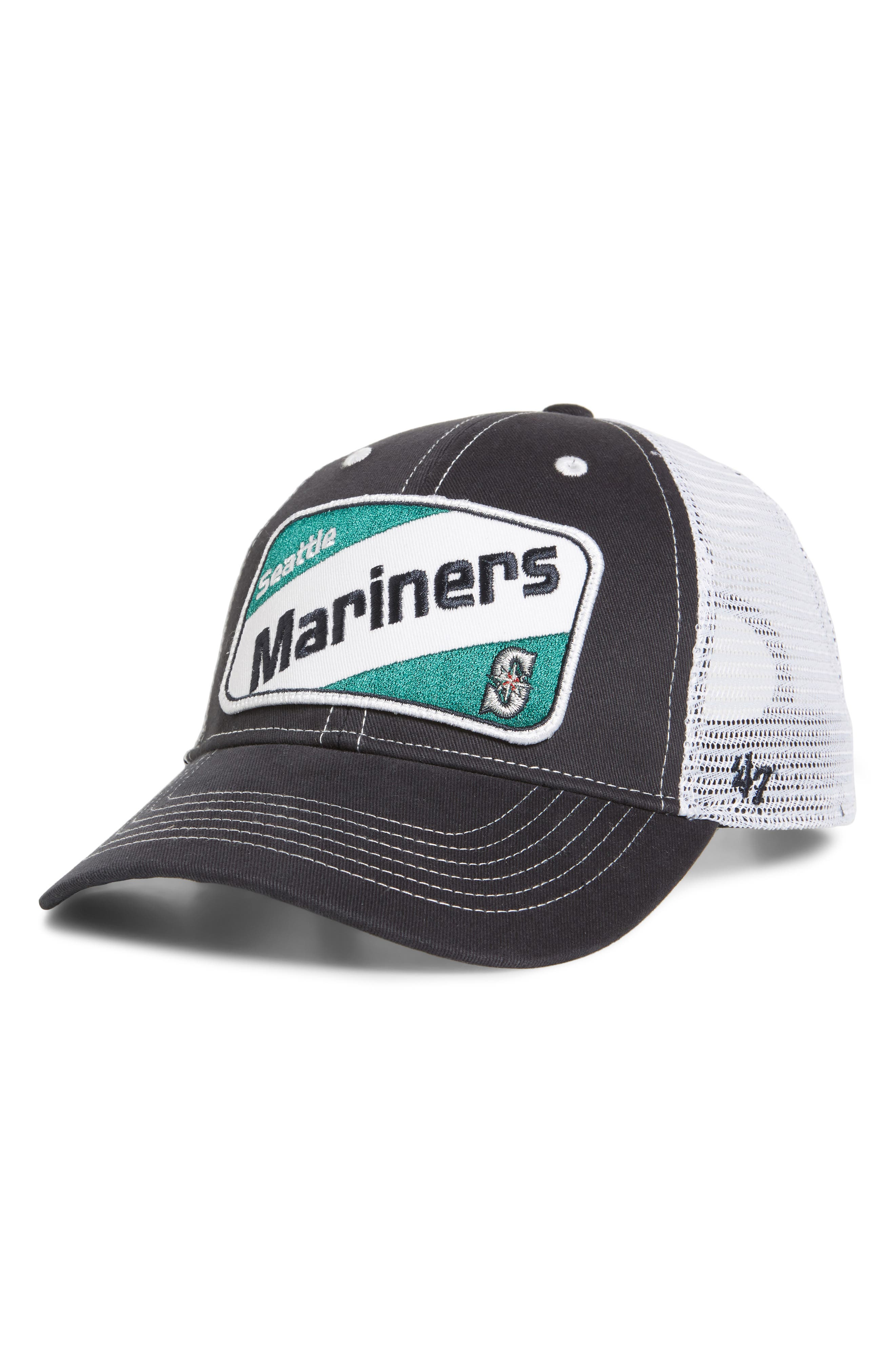 '47 Woodlawn Seattle Mariners Trucker Hat, Main, color, NAVY