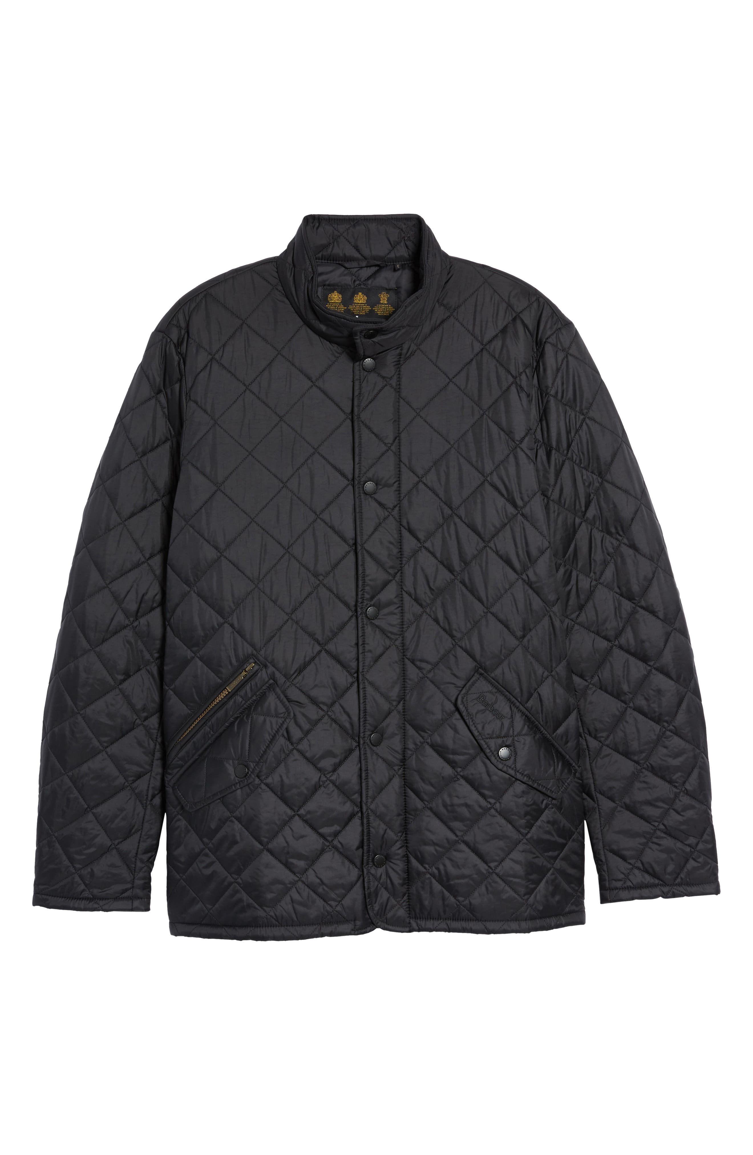 BARBOUR, Flyweight Chelsea Quilted Jacket, Alternate thumbnail 6, color, BLACK