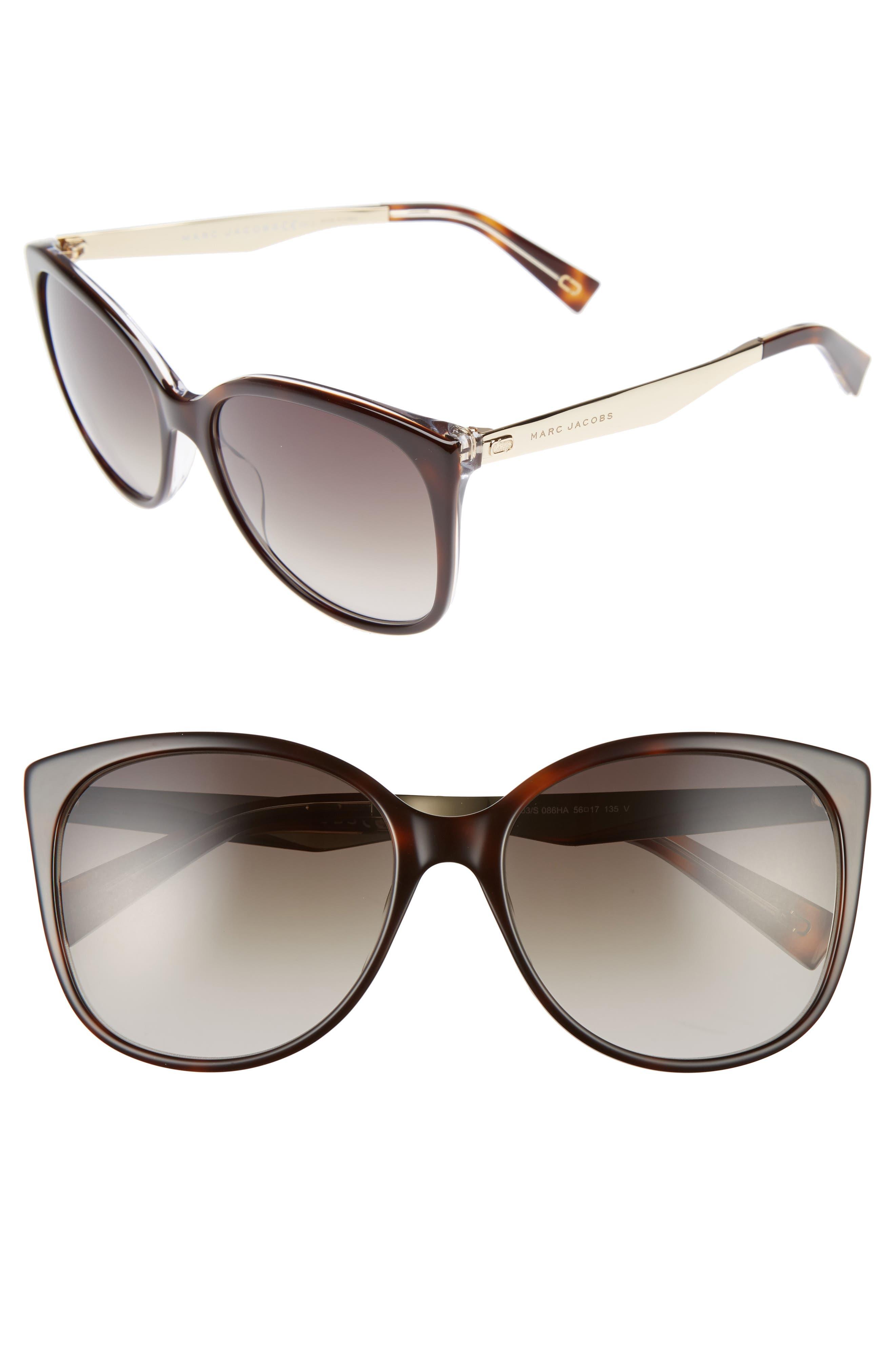 MARC JACOBS, 56mm Gradient Lens Butterfly Sunglasses, Main thumbnail 1, color, DARK HAVANA