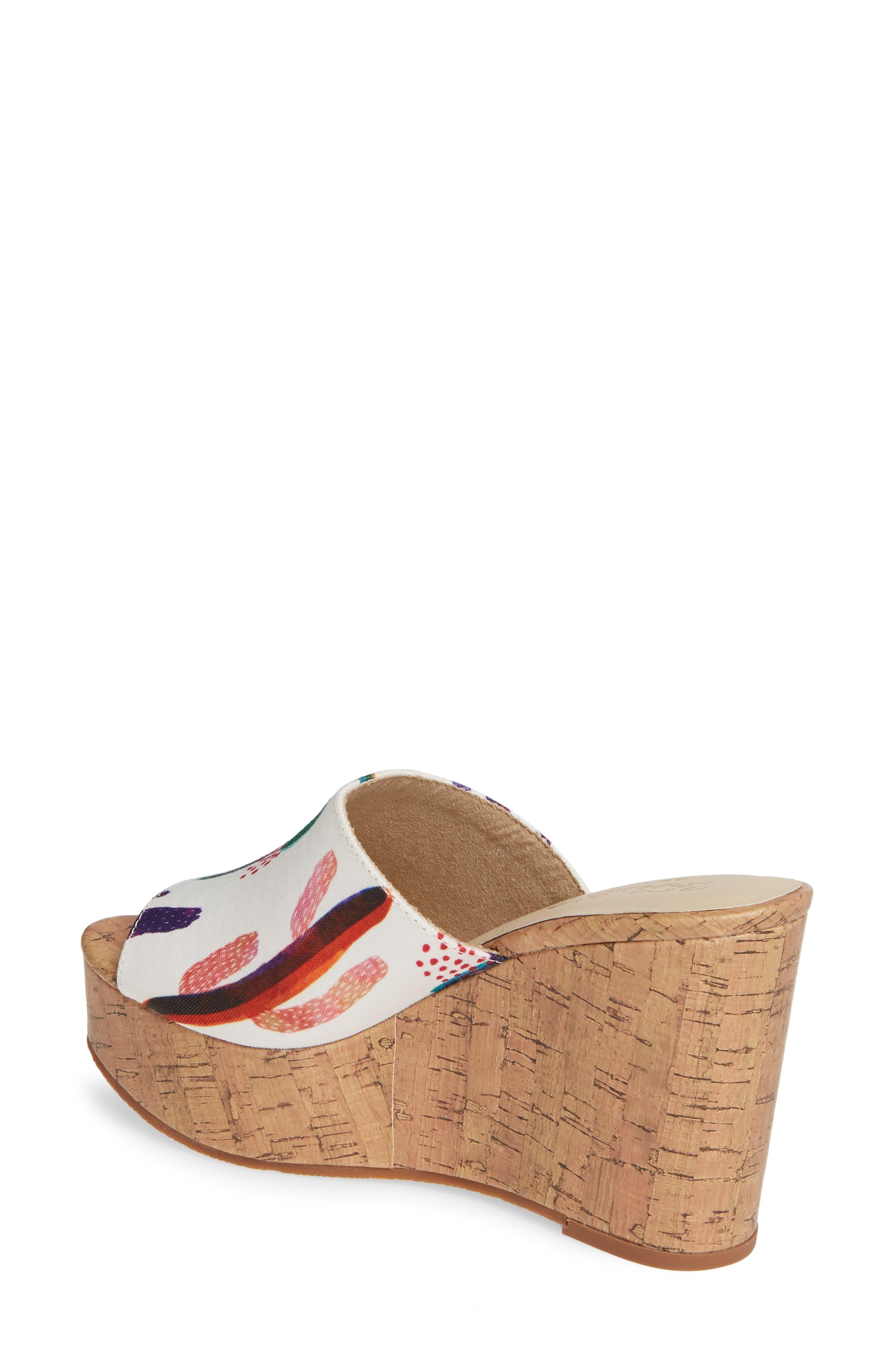 ARIAT, Layla Wedge Slide Sandal, Alternate thumbnail 2, color, CACTUS PRINT FABRIC