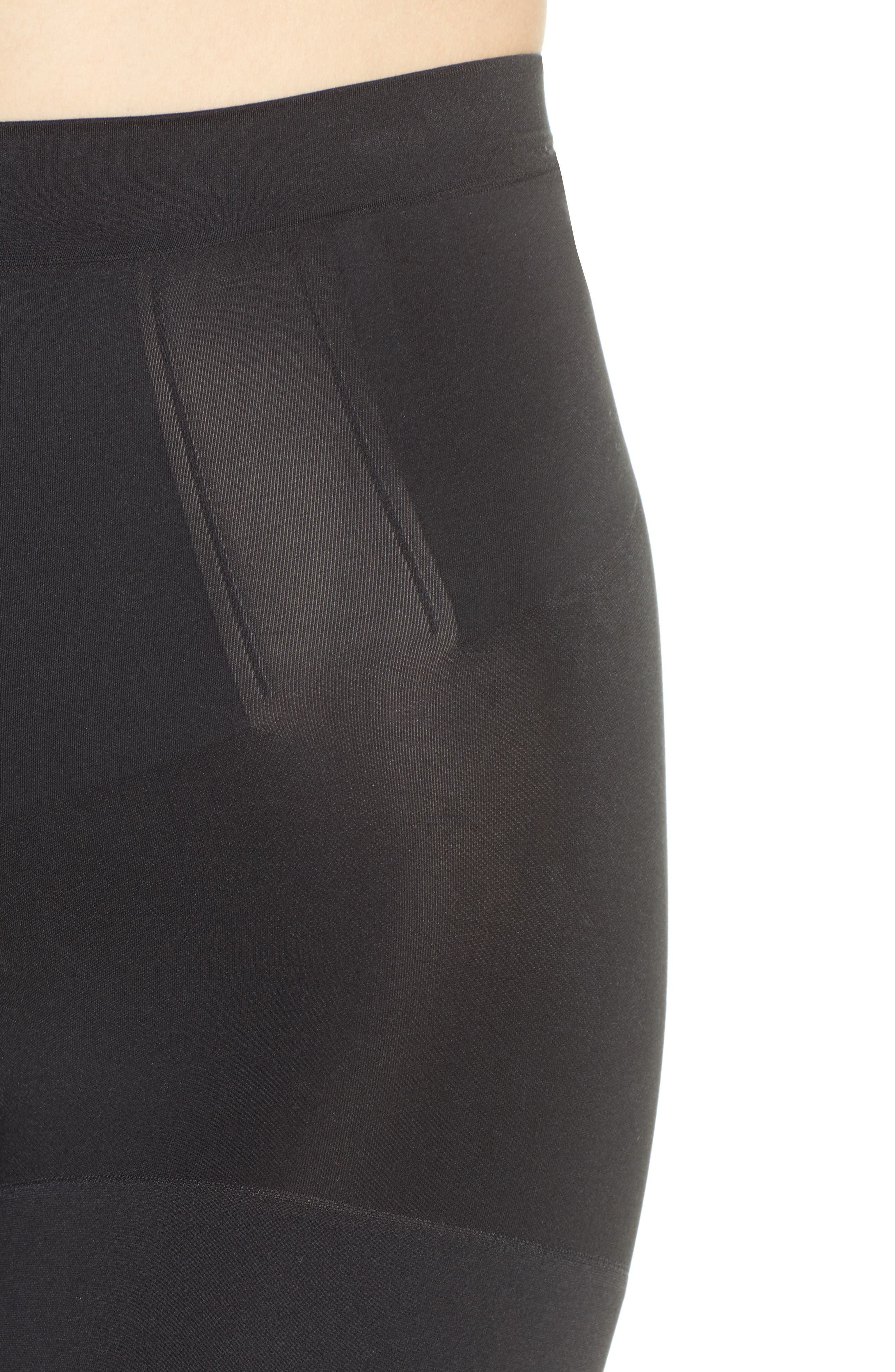 SPANX<SUP>®</SUP>, OnCore Mid Thigh Shorts, Alternate thumbnail 5, color, BLACK