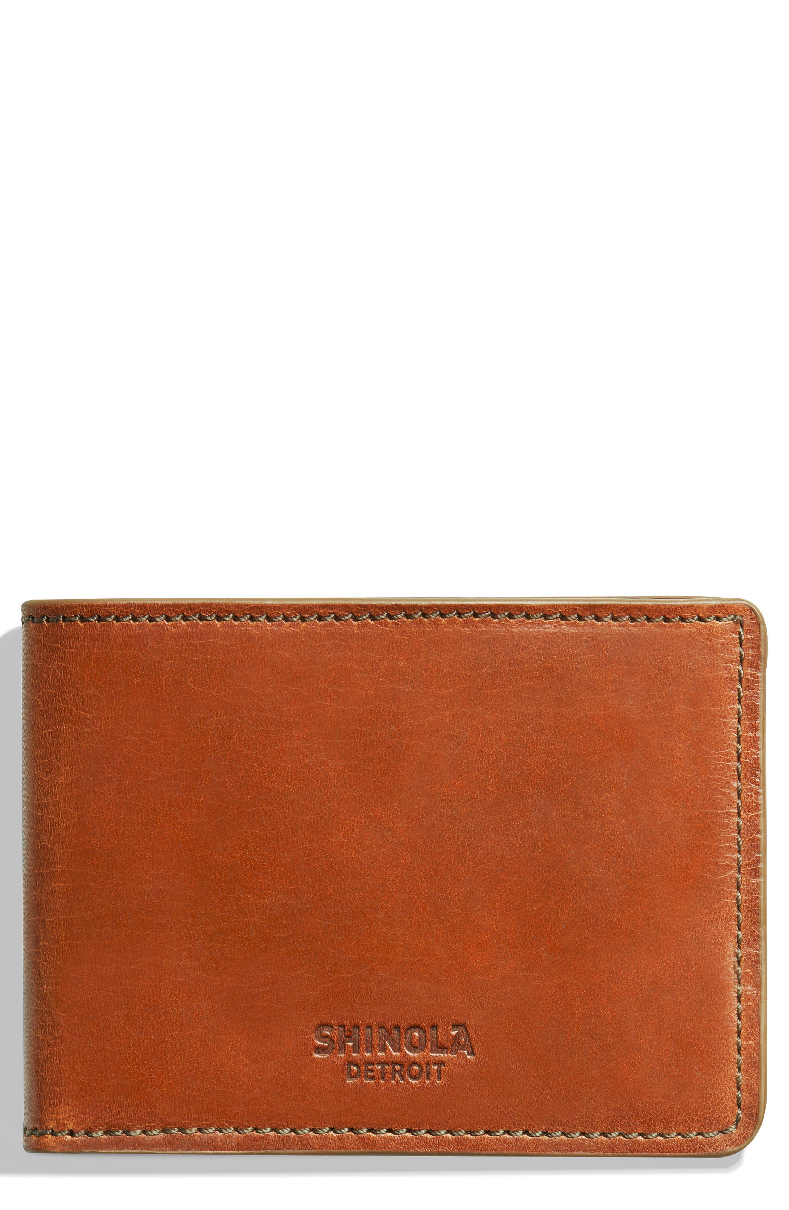 SHINOLA, Harness Slim 2.0 Bifold Leather Wallet, Main thumbnail 1, color, BOURBON