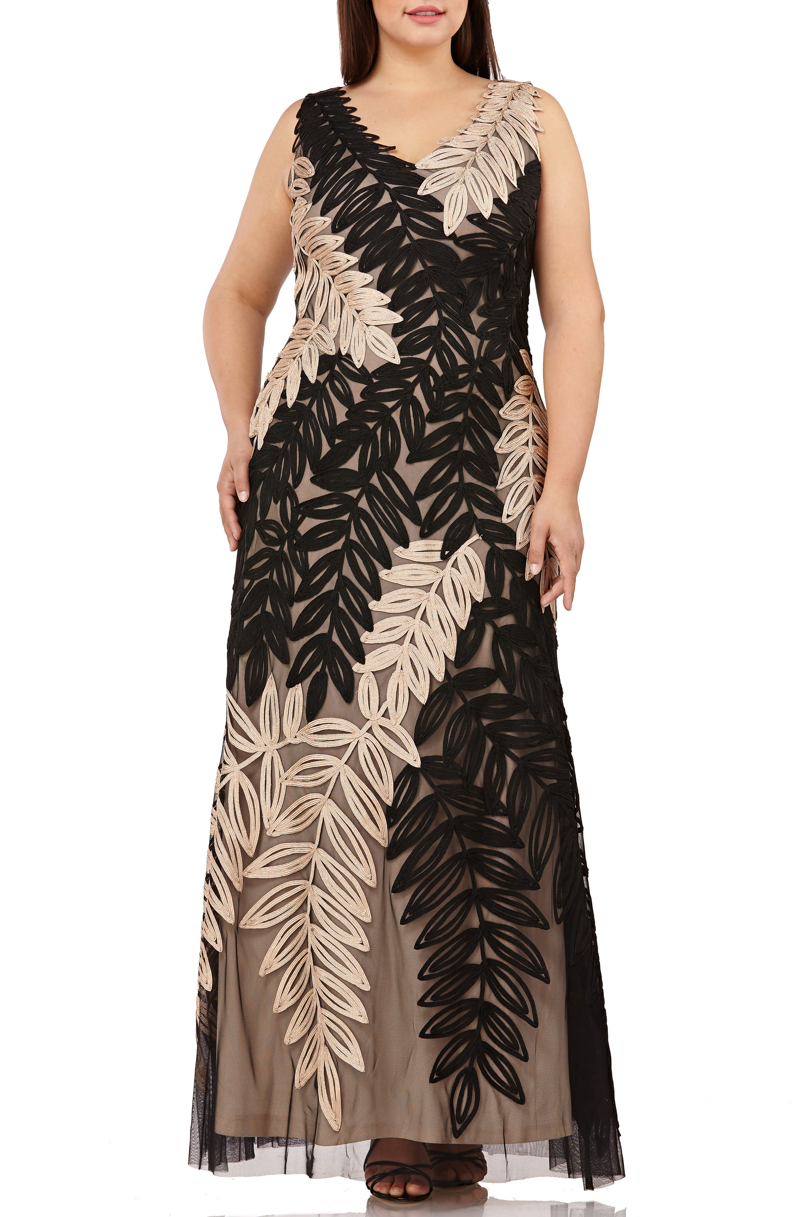 Plus Size Js Collections Two-Tone Embroidered Leaf Gown, Black