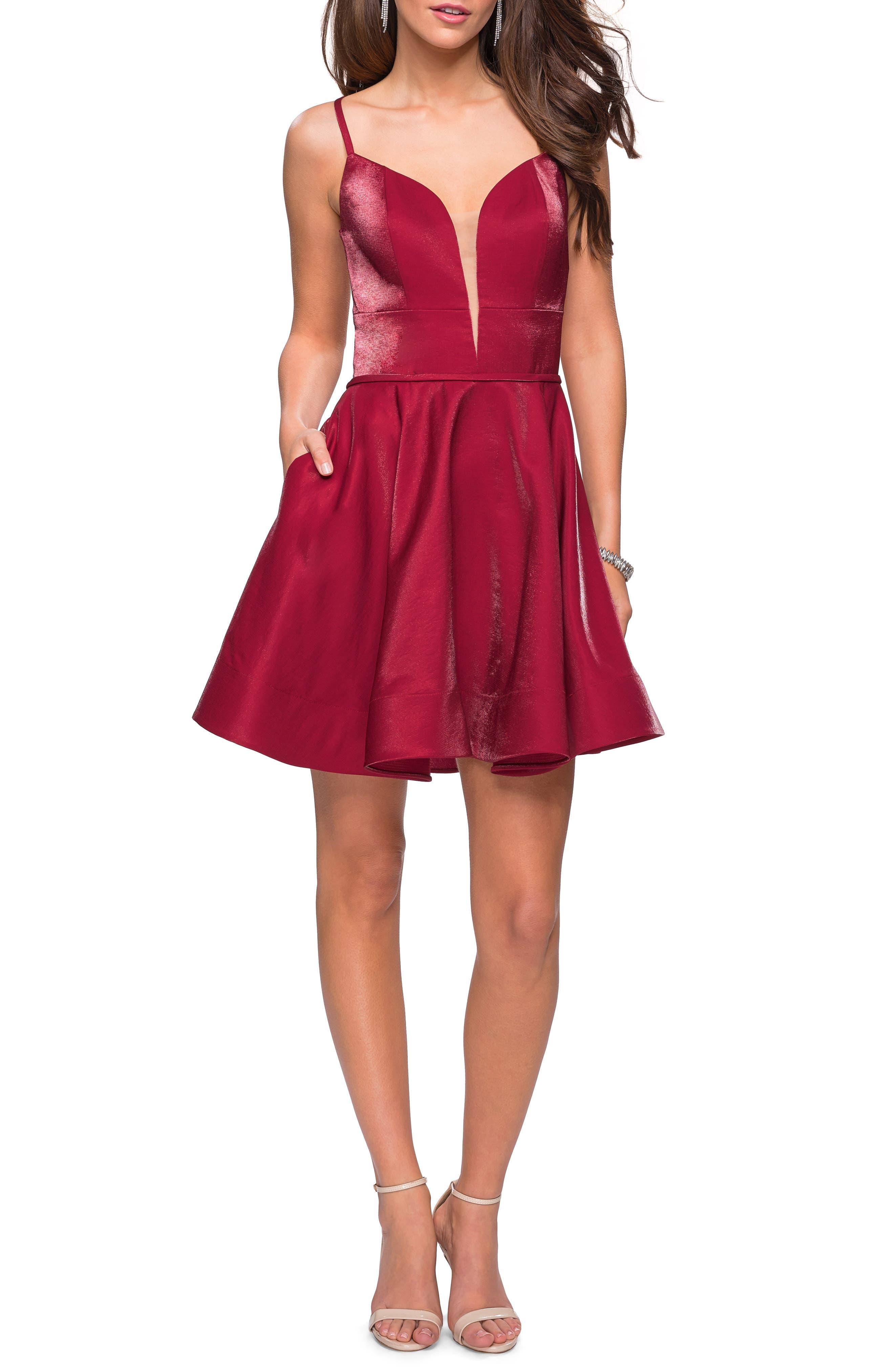 La Femme Satin Fit & Flare Dress, Red