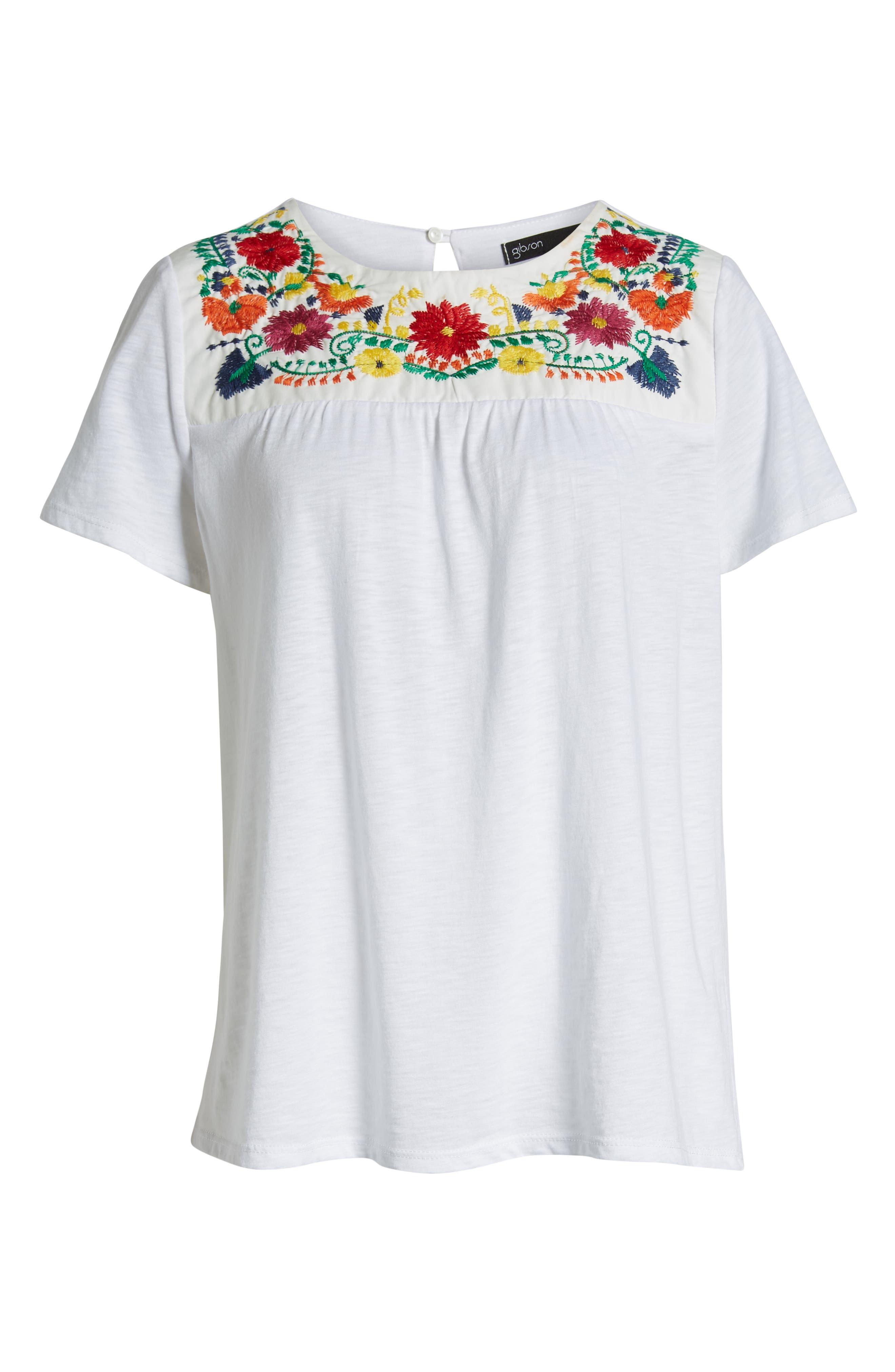 GIBSON, x Hi Sugarplum! Savannah Embroidered Yoke Tee, Alternate thumbnail 6, color, WHITE MULTI COLOR