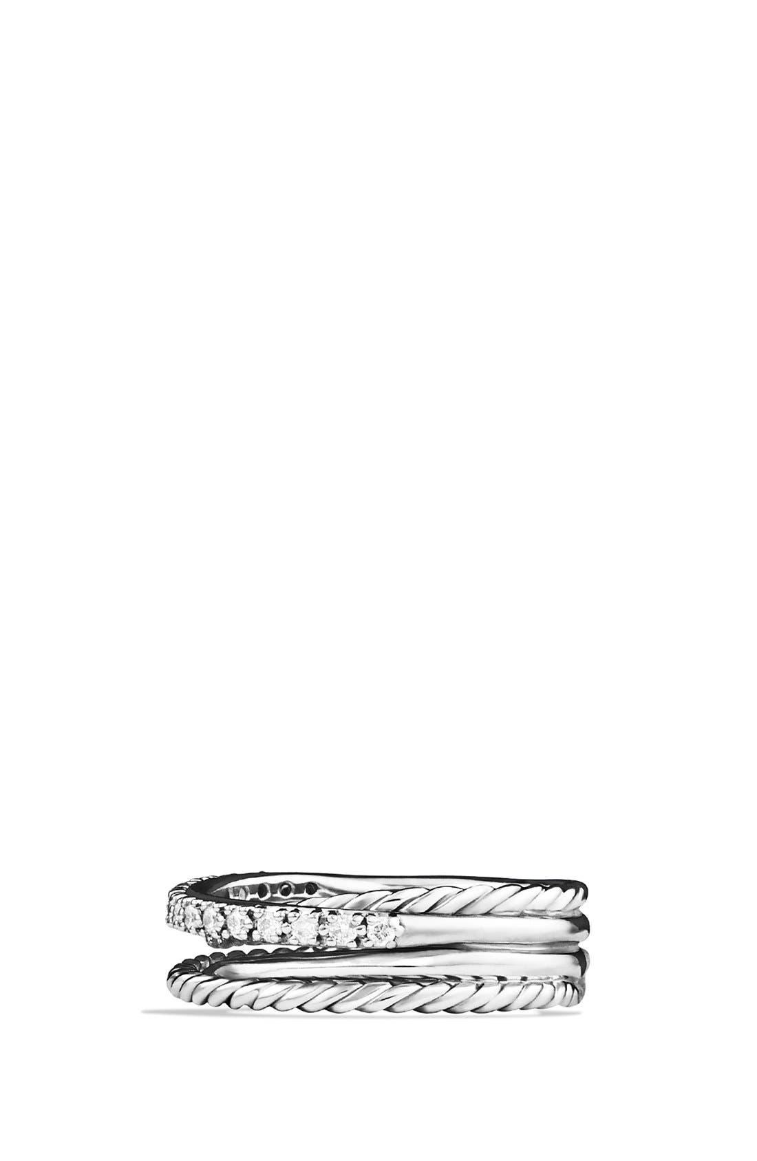 DAVID YURMAN, 'Crossover' Ring with Diamonds, Alternate thumbnail 4, color, SILVER/ DIAMOND