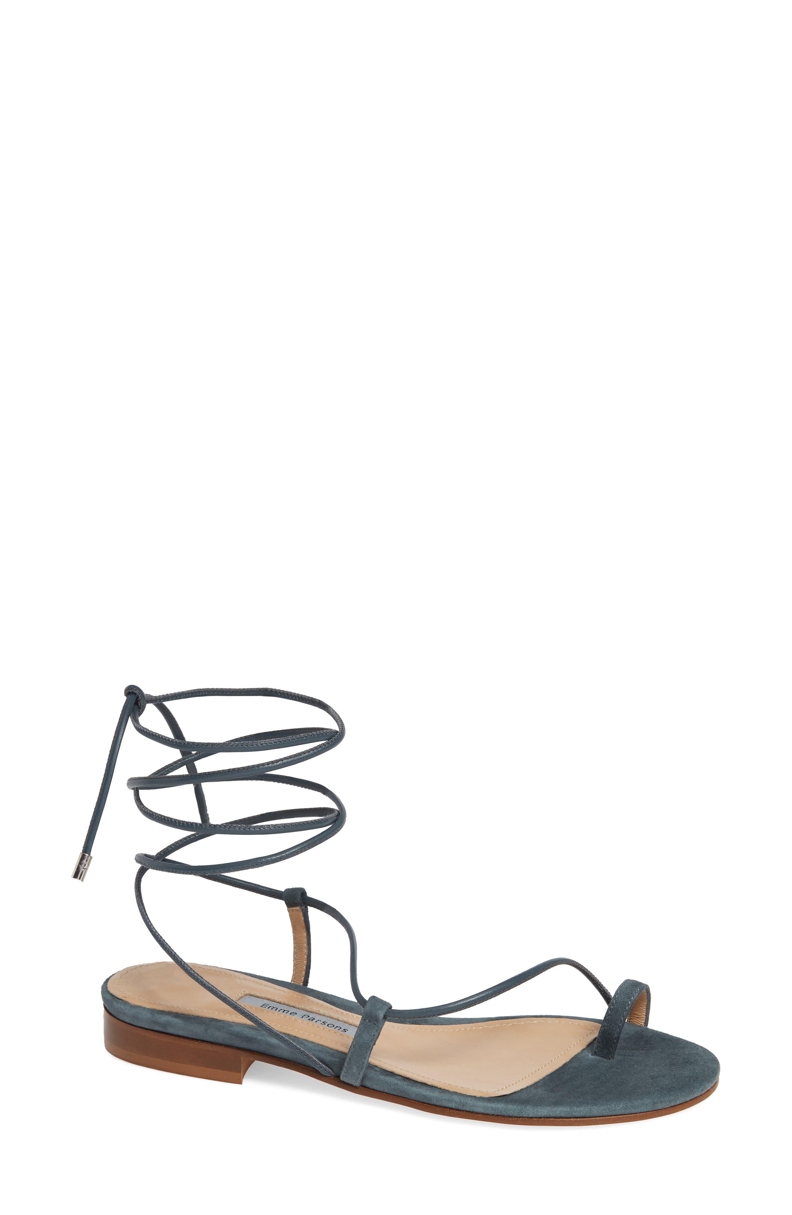 EMME PARSONS, Susan Ankle Tie Sandal, Main thumbnail 1, color, SLATE