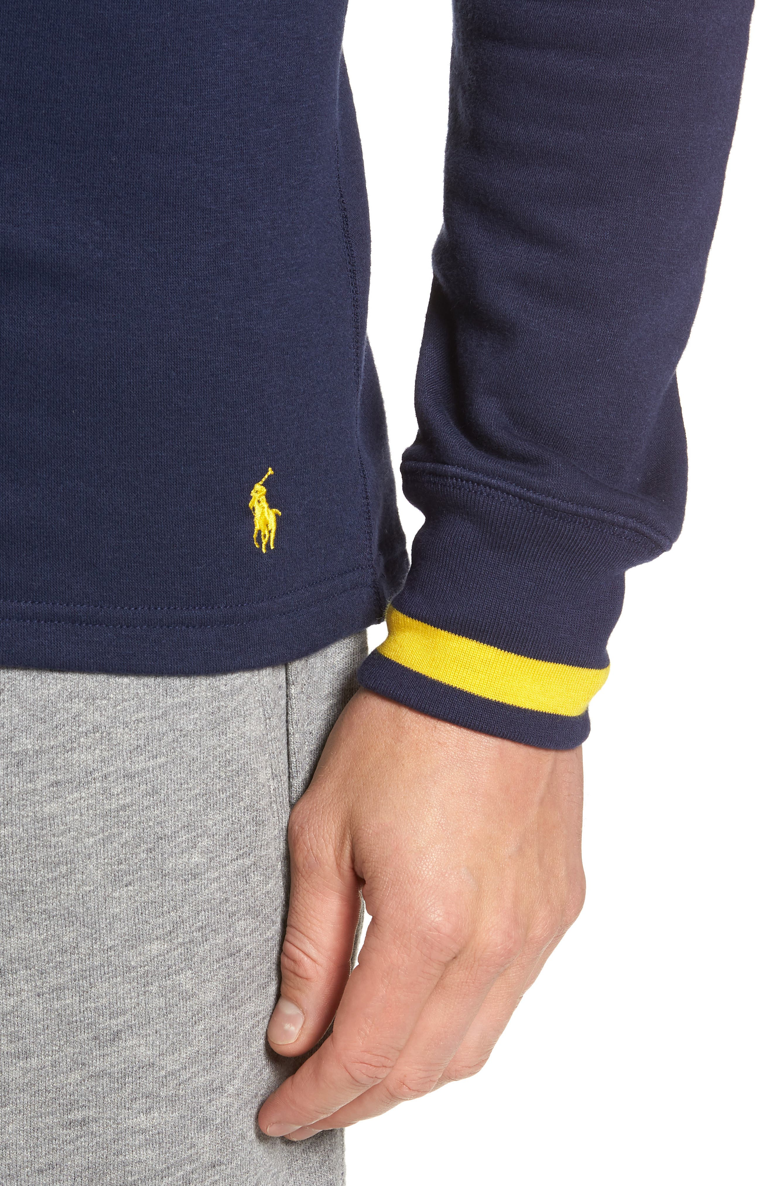 POLO RALPH LAUREN, Brushed Jersey Cotton Blend Crewneck Sweatshirt, Alternate thumbnail 4, color, CRUISE NAVY
