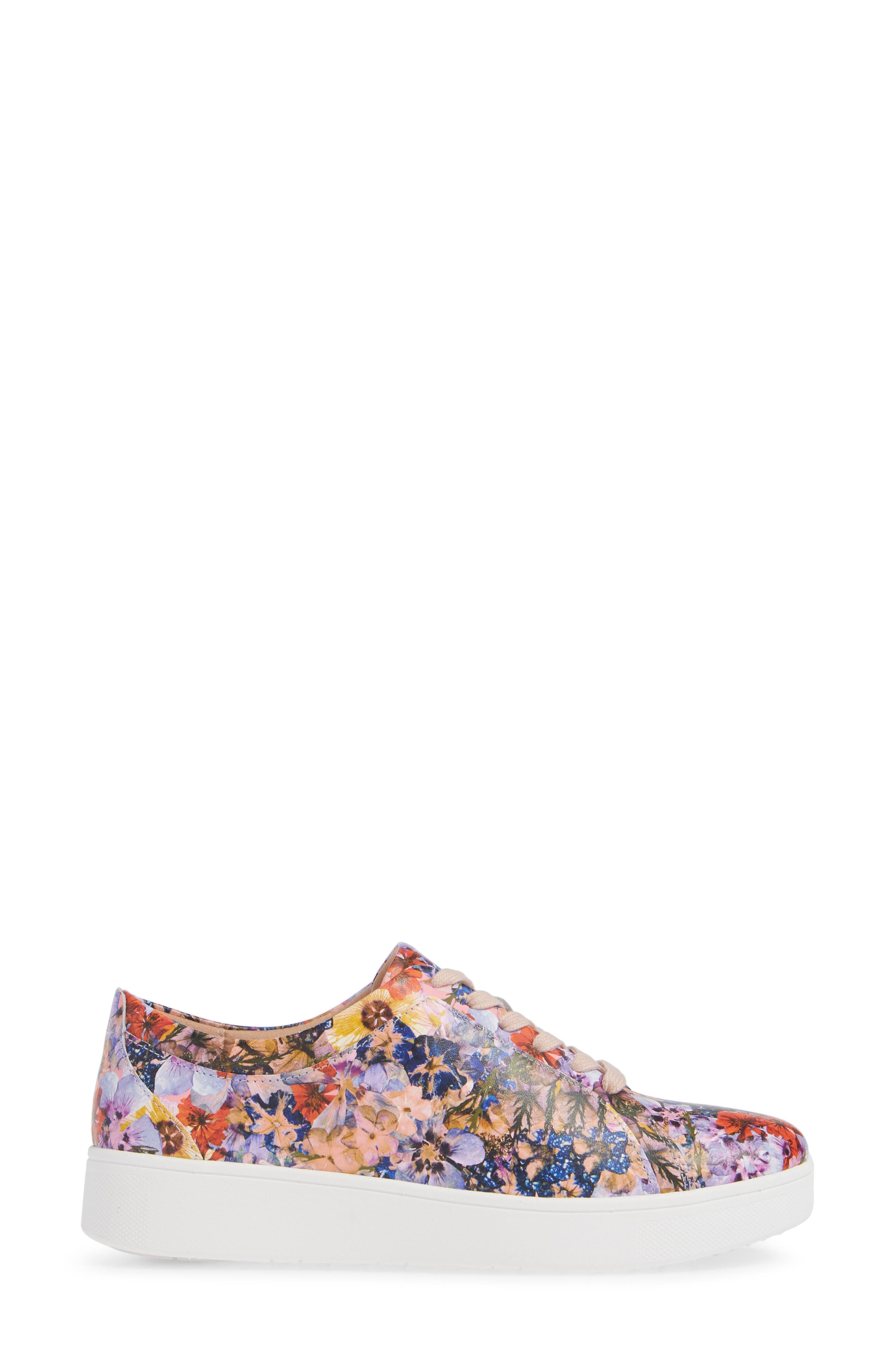 FITFLOP, Rally Flower Crush Leather Sneaker, Alternate thumbnail 3, color, OYSTER PINK FLOWER