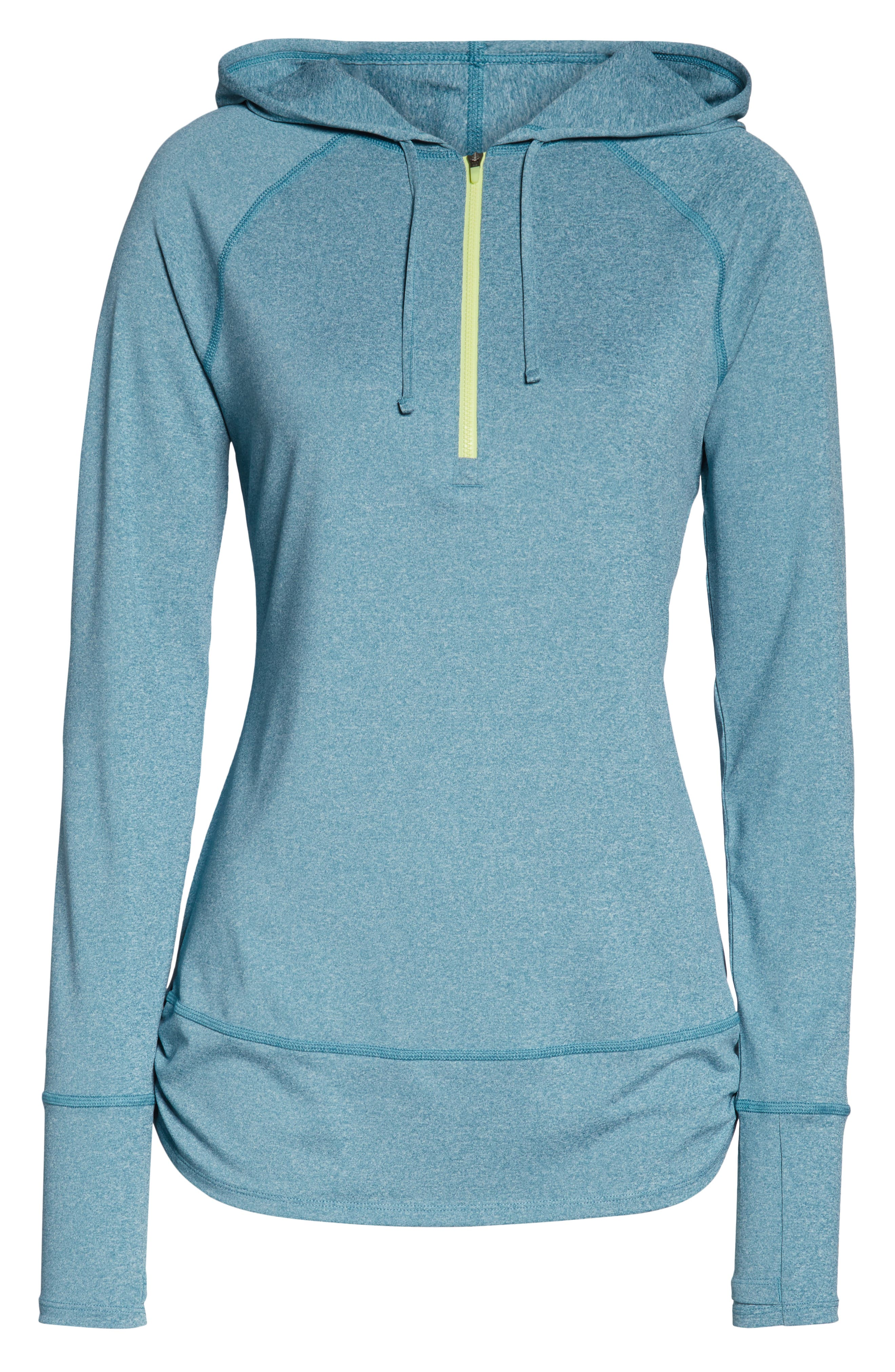 THE NORTH FACE, Shade Me Quarter Zip Hoodie, Alternate thumbnail 7, color, STORM BLUE HEATHER