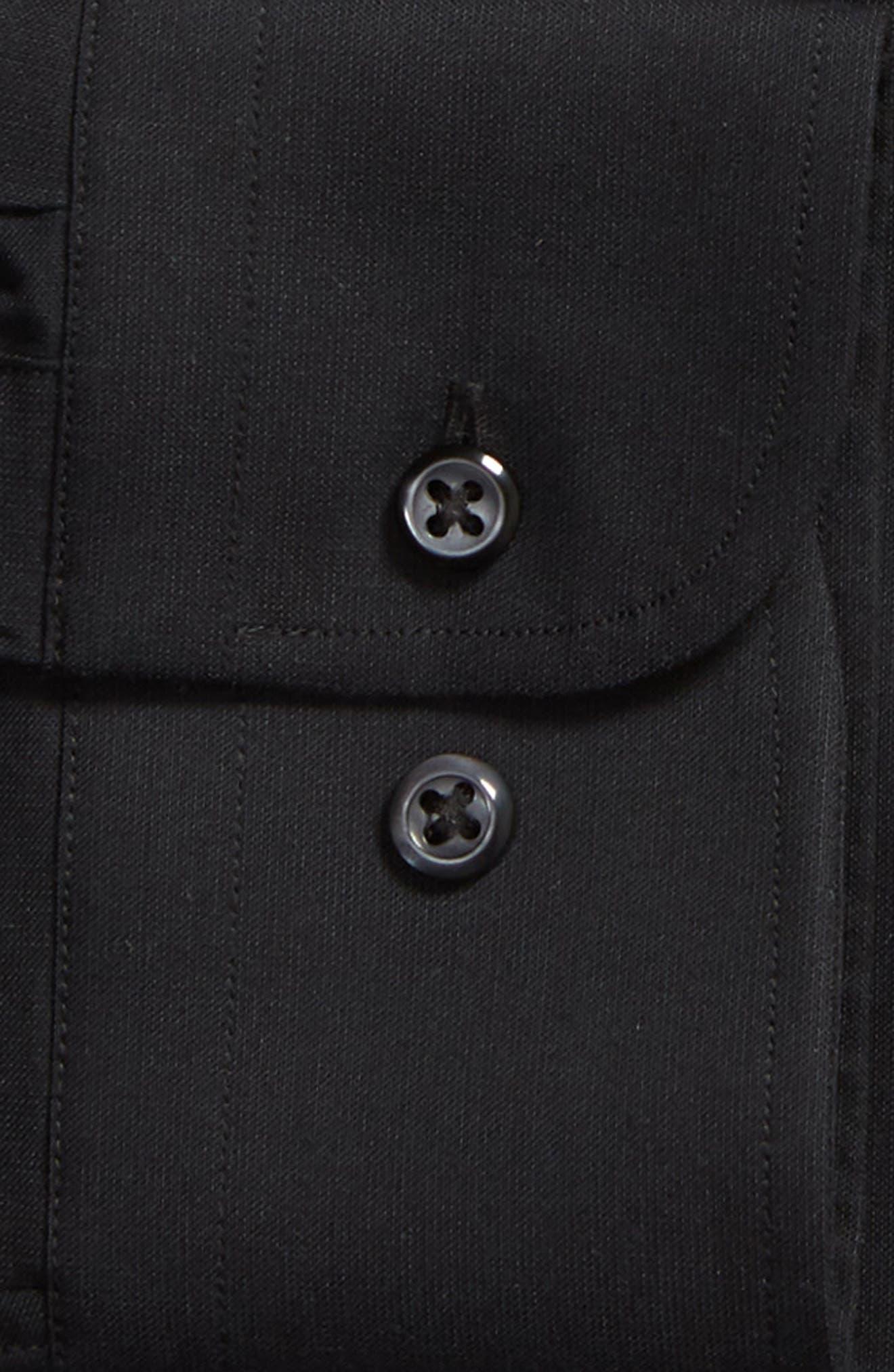 NORDSTROM MEN'S SHOP, Tech-Smart Trim Fit Stretch Pinpoint Dress Shirt, Alternate thumbnail 6, color, BLACK ROCK