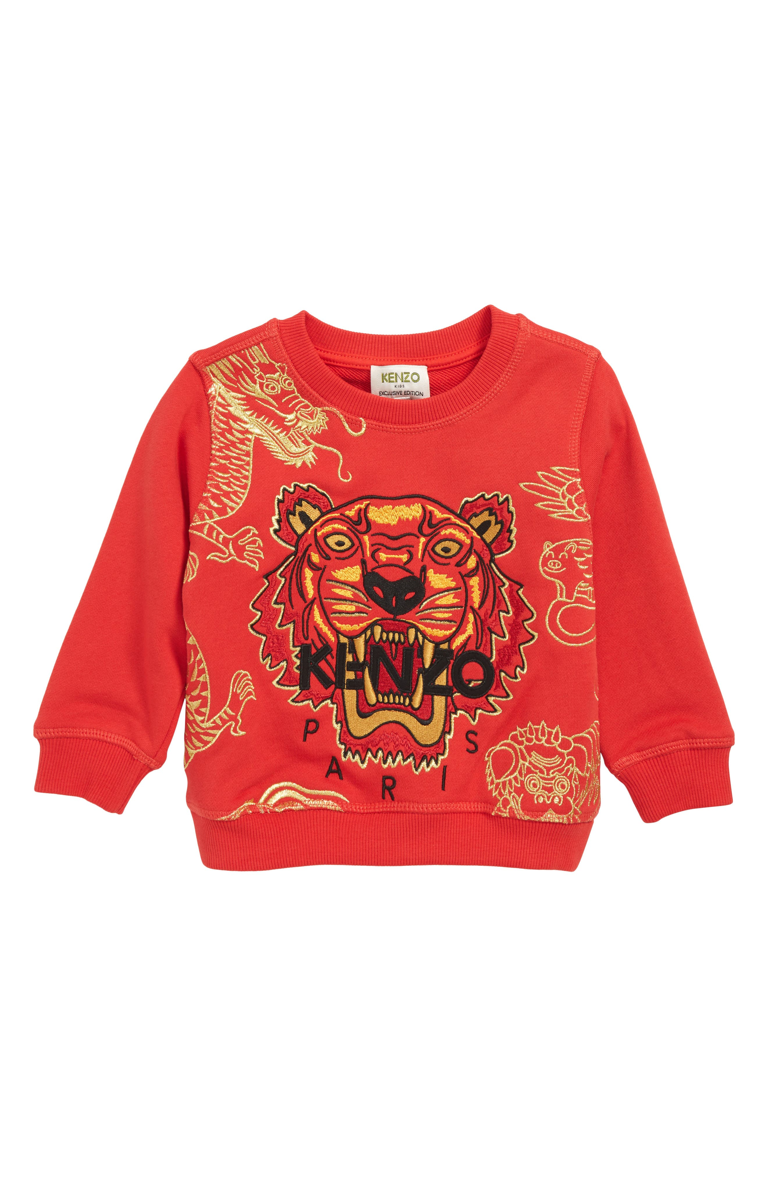 KENZO, Embroidered Tiger Logo Sweatshirt, Main thumbnail 1, color, RED