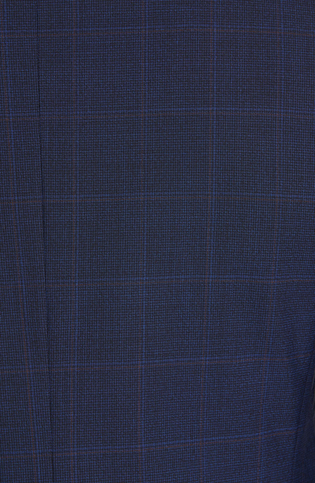 CANALI, Siena Soft Classic Fit Plaid Wool Suit, Alternate thumbnail 7, color, NAVY