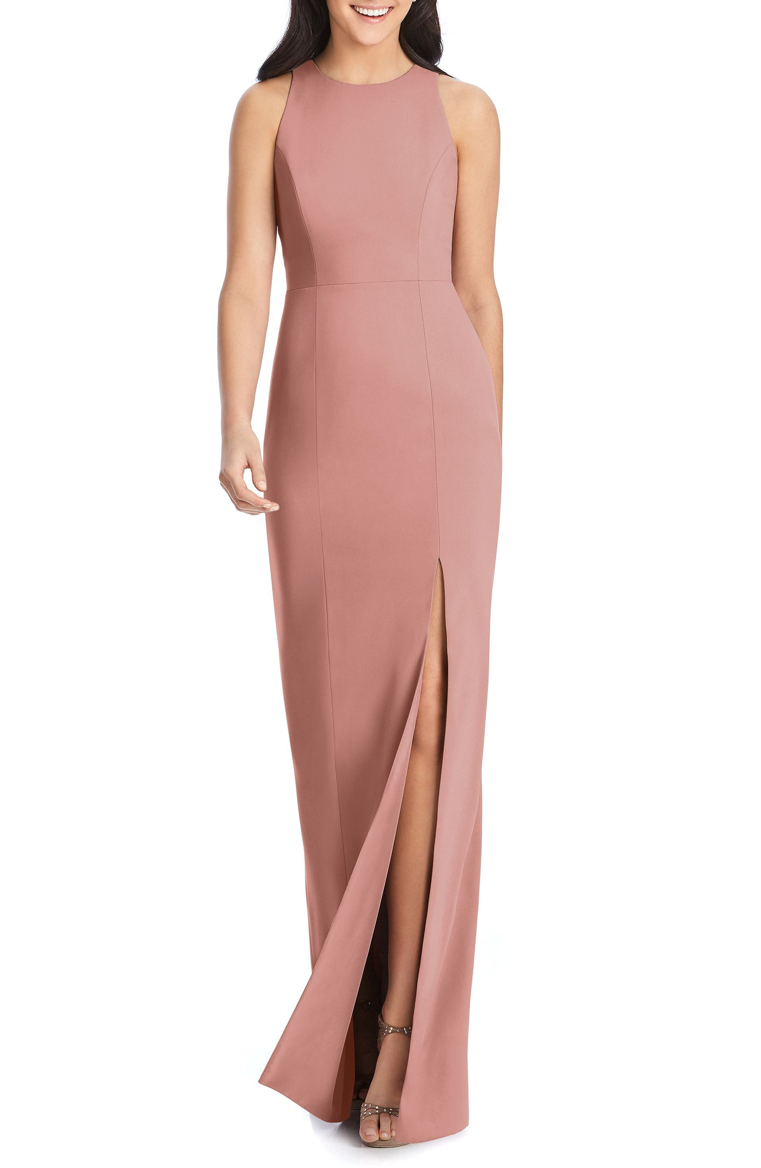 Dessy Collection Sleeveless Crepe Gown, Pink