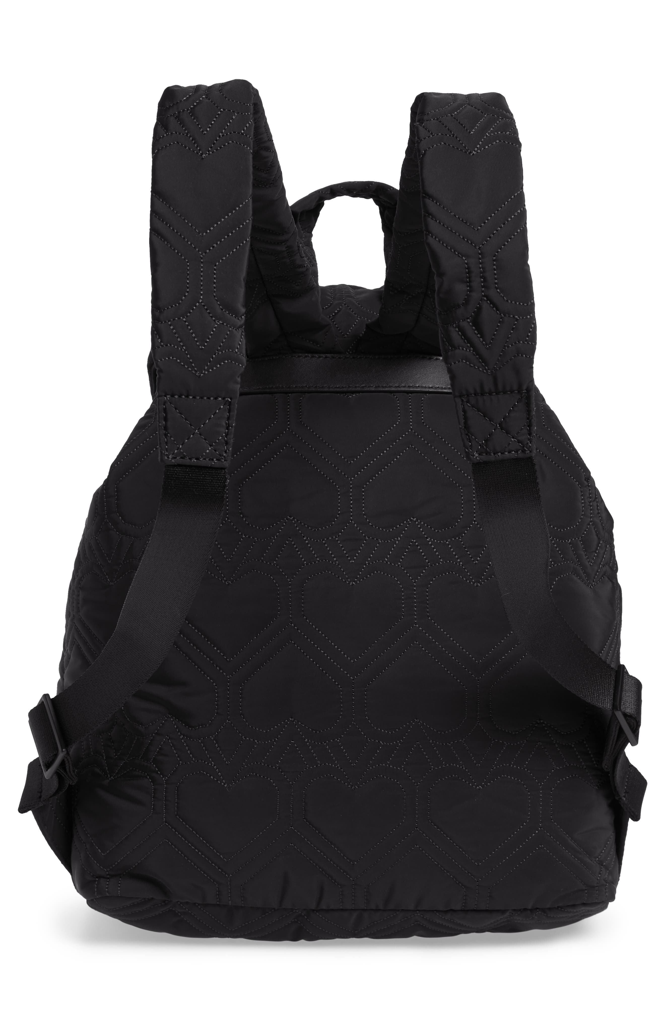 KATE SPADE NEW YORK, large jayne quilted nylon backpack, Alternate thumbnail 3, color, BLACK