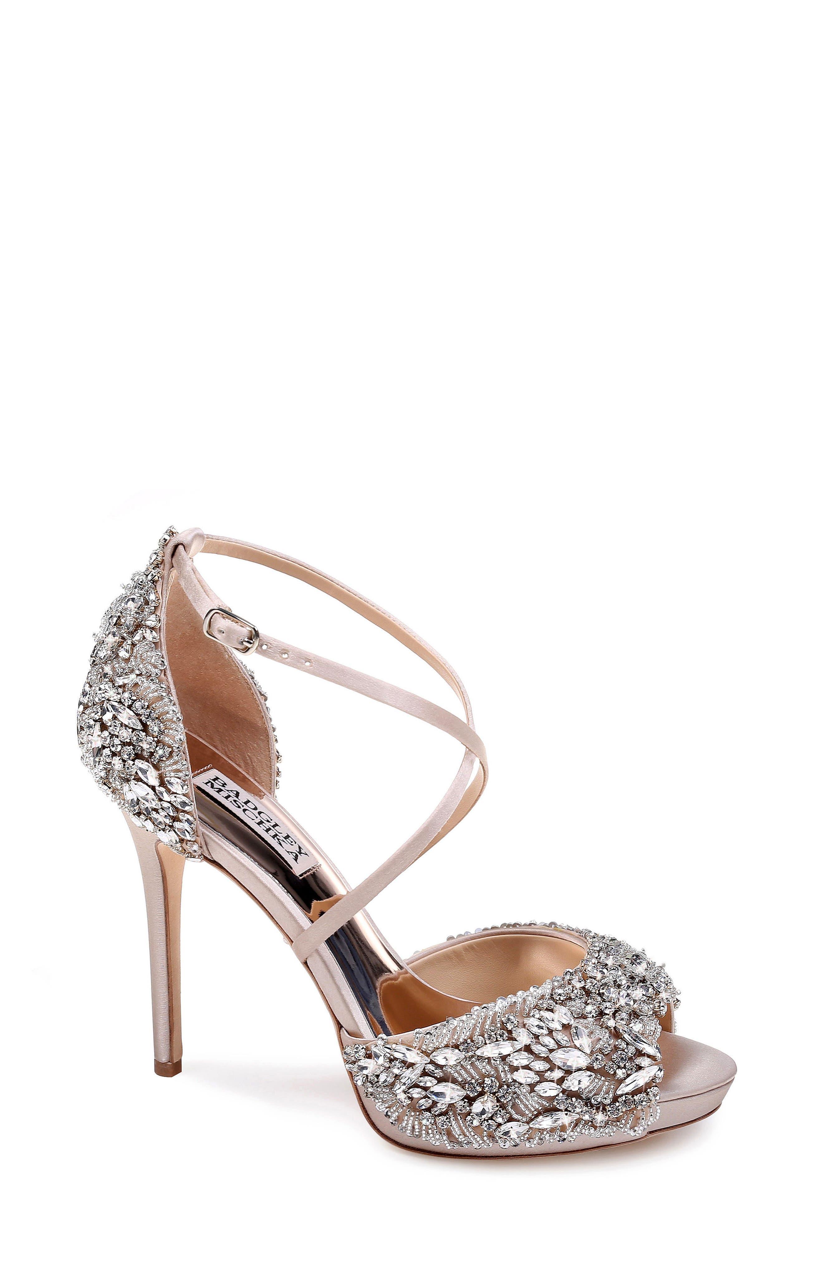 BADGLEY MISCHKA COLLECTION Badgley Mischka Hyper Crystal Embellished Sandal, Main, color, 100