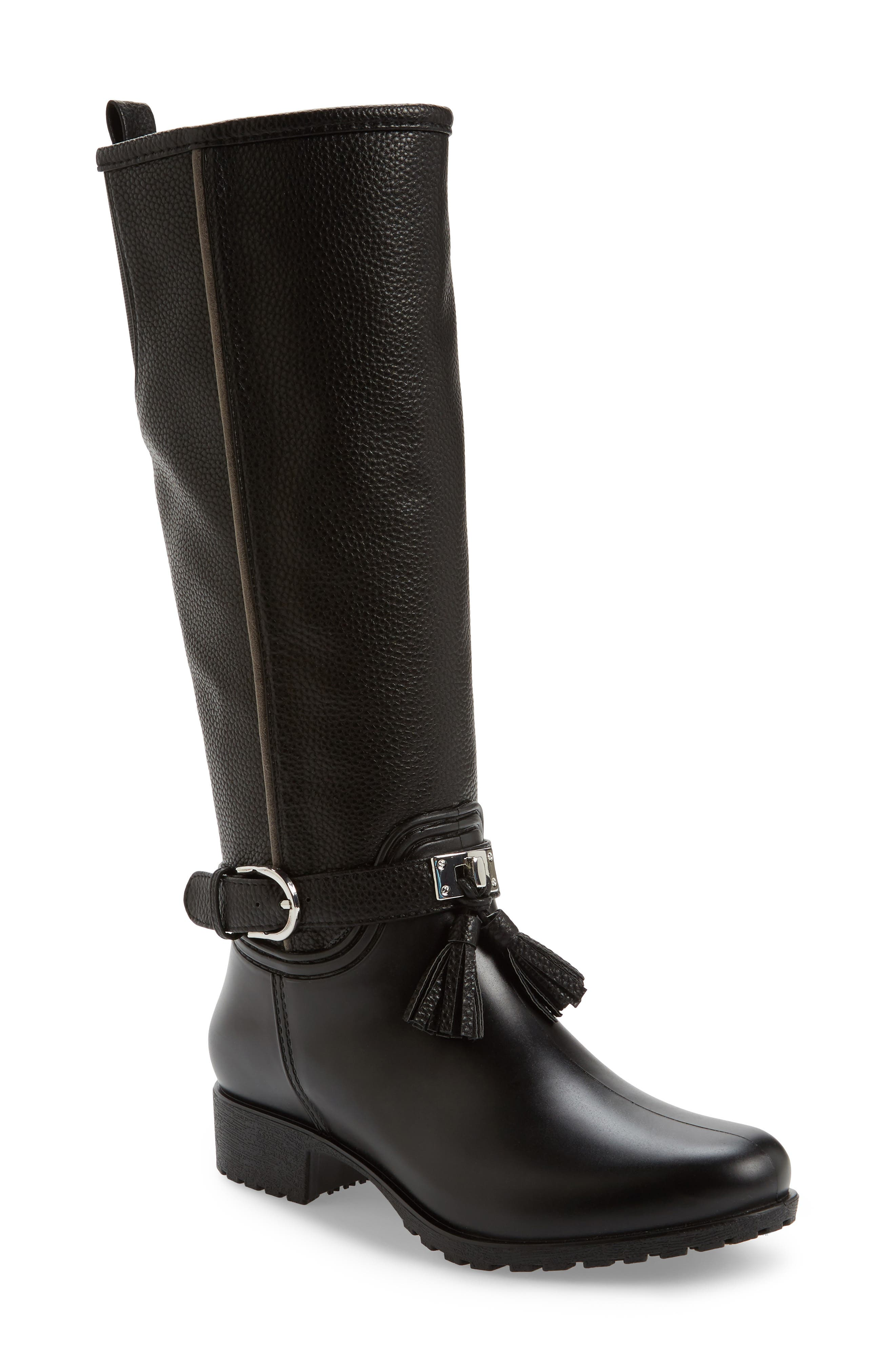 DÄV, Inverness Faux Shearling Lined Water Resistant Boot, Main thumbnail 1, color, BLACK