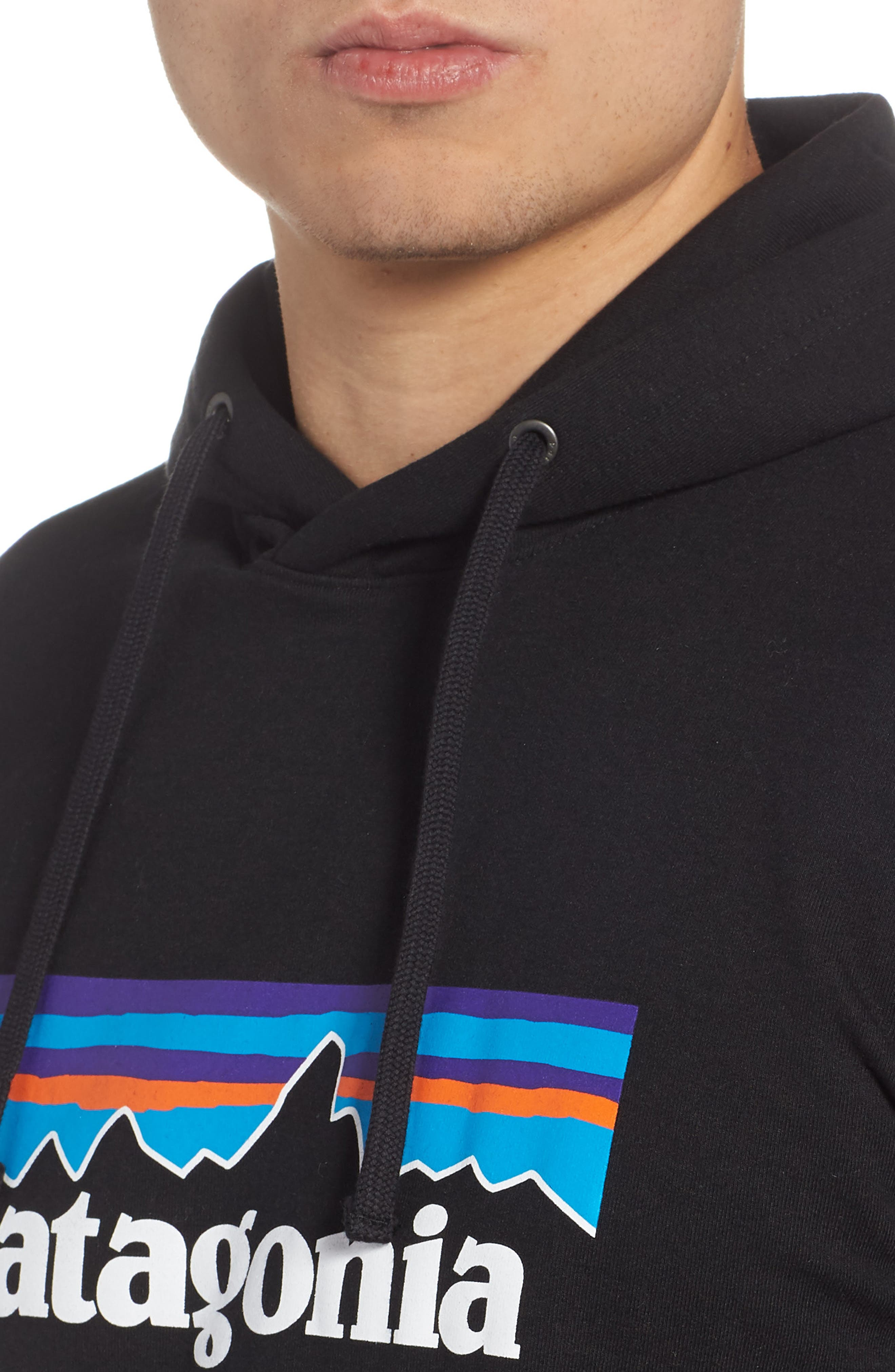 PATAGONIA, P6 Logo Uprisal Hooded Sweatshirt, Alternate thumbnail 4, color, BLACK