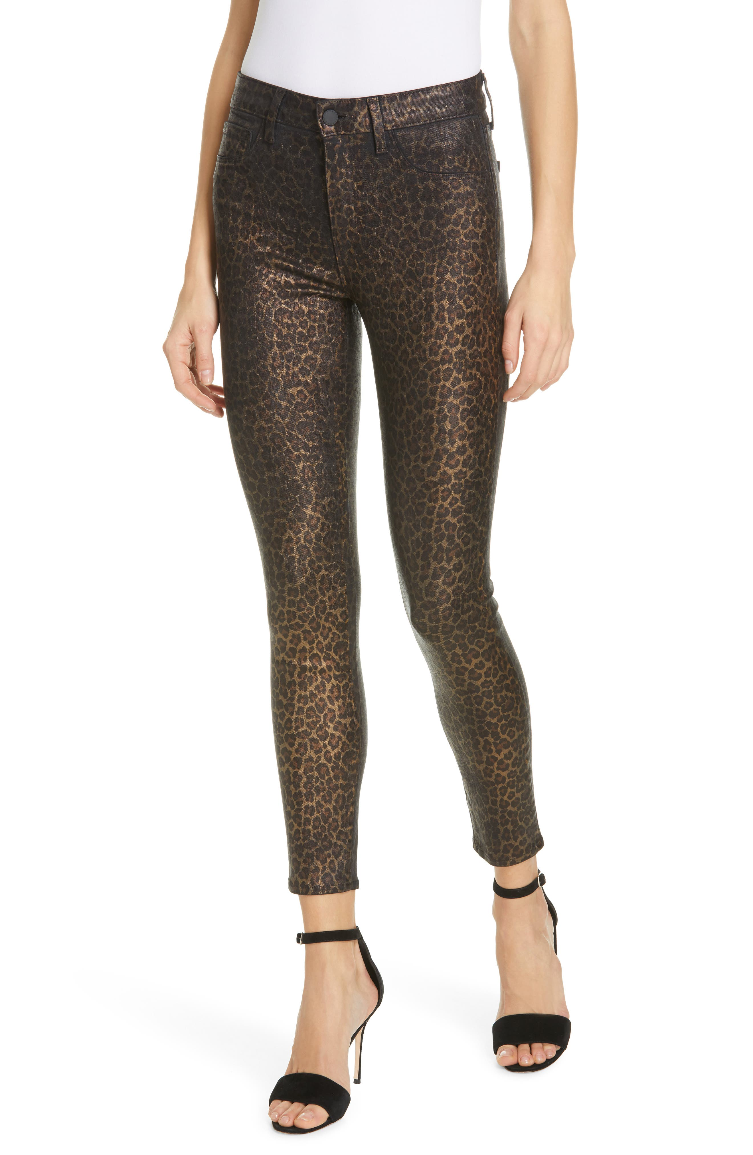L'AGENCE, Margot Metallic Coated Crop Skinny Jeans, Main thumbnail 1, color, BLACK CHEETAH CRACKLE FOIL
