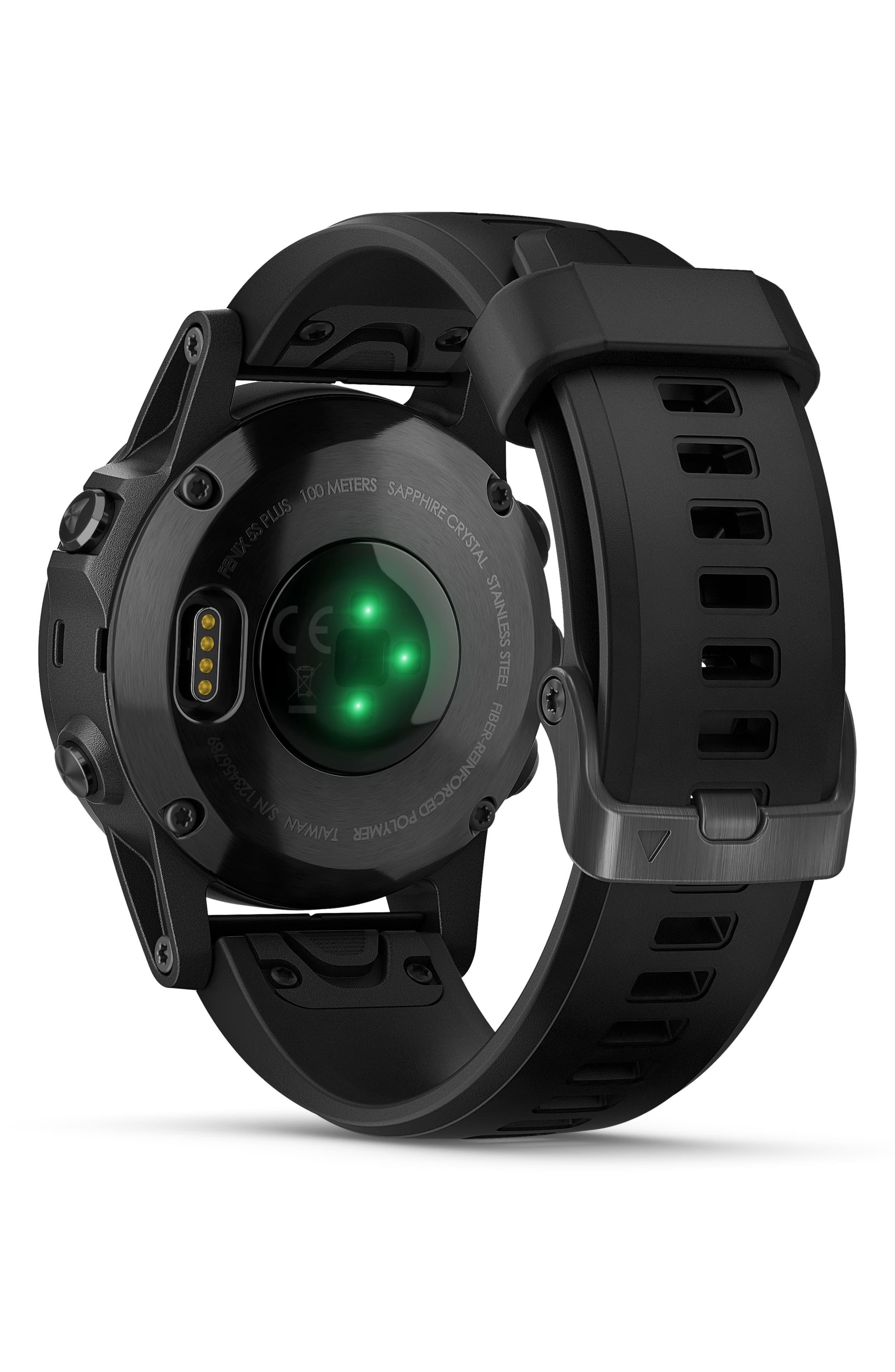 GARMIN, fenix<sup>®</sup> 5S Plus Sapphire Premium Multisport GPS Watch, 42mm, Alternate thumbnail 2, color, BLACK