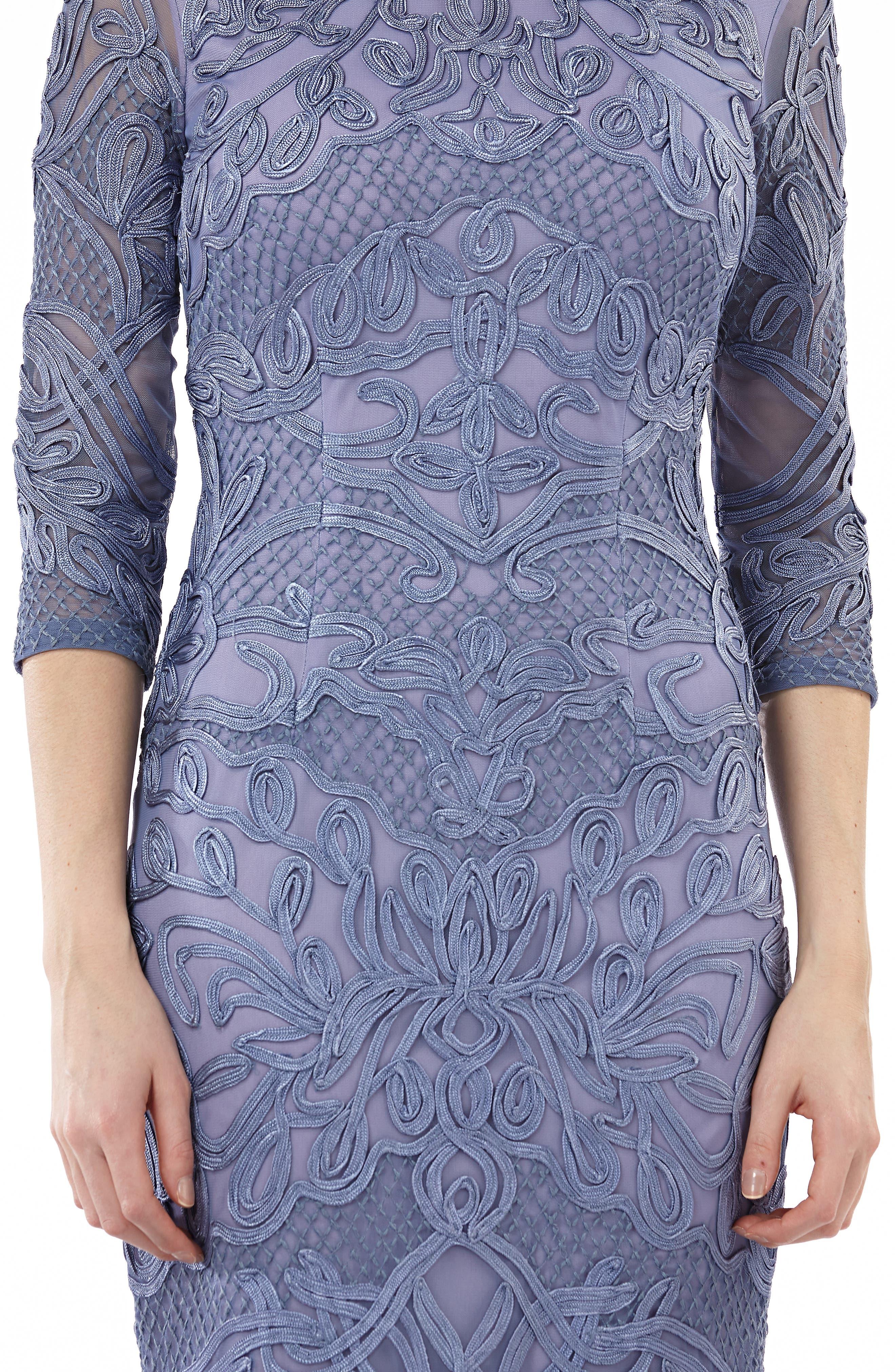 JS COLLECTIONS, Soutache Sheath Dress, Alternate thumbnail 5, color, PERIWINKLE