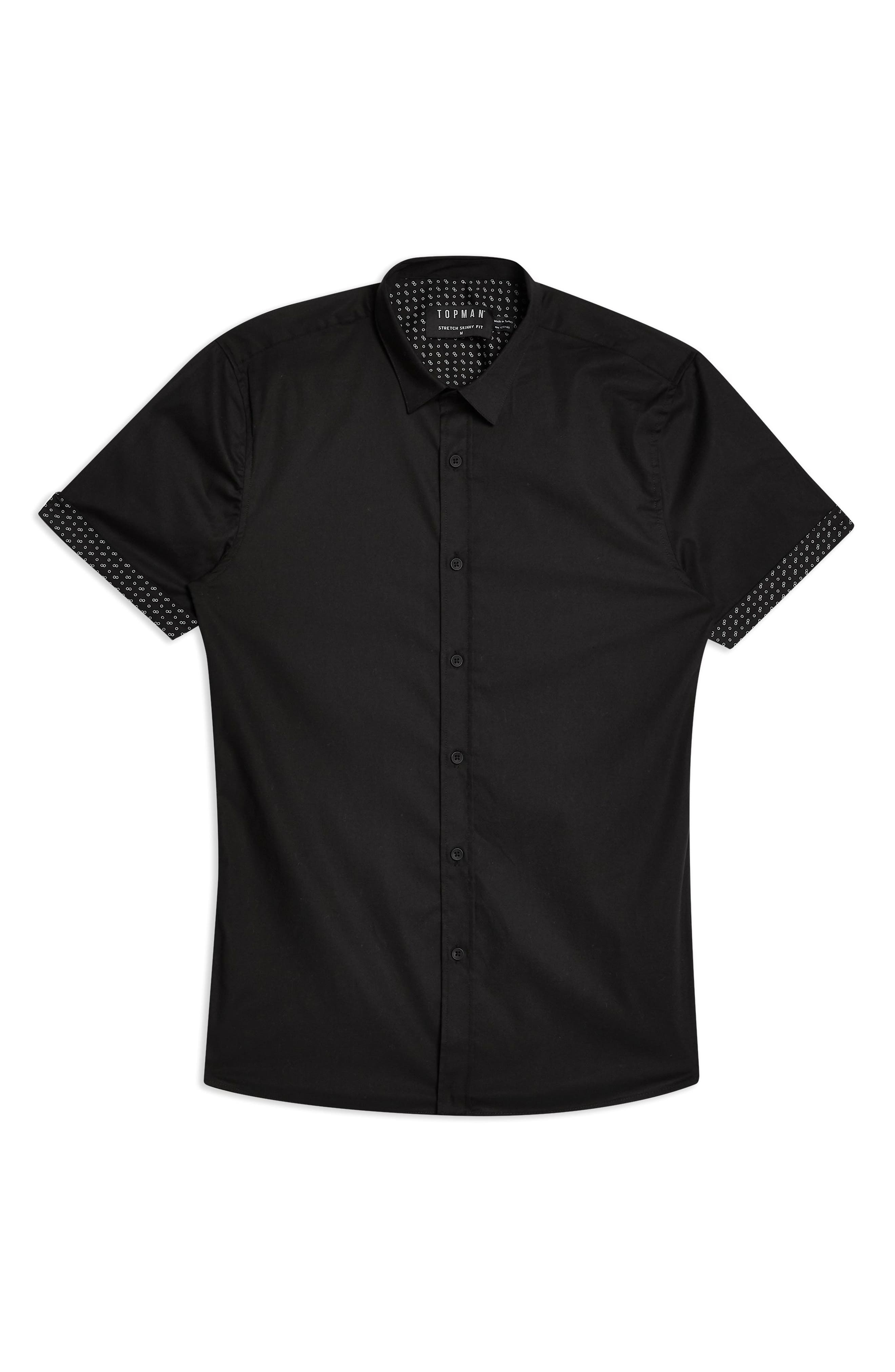 TOPMAN, Stretch Skinny Fit Shirt, Alternate thumbnail 4, color, 001