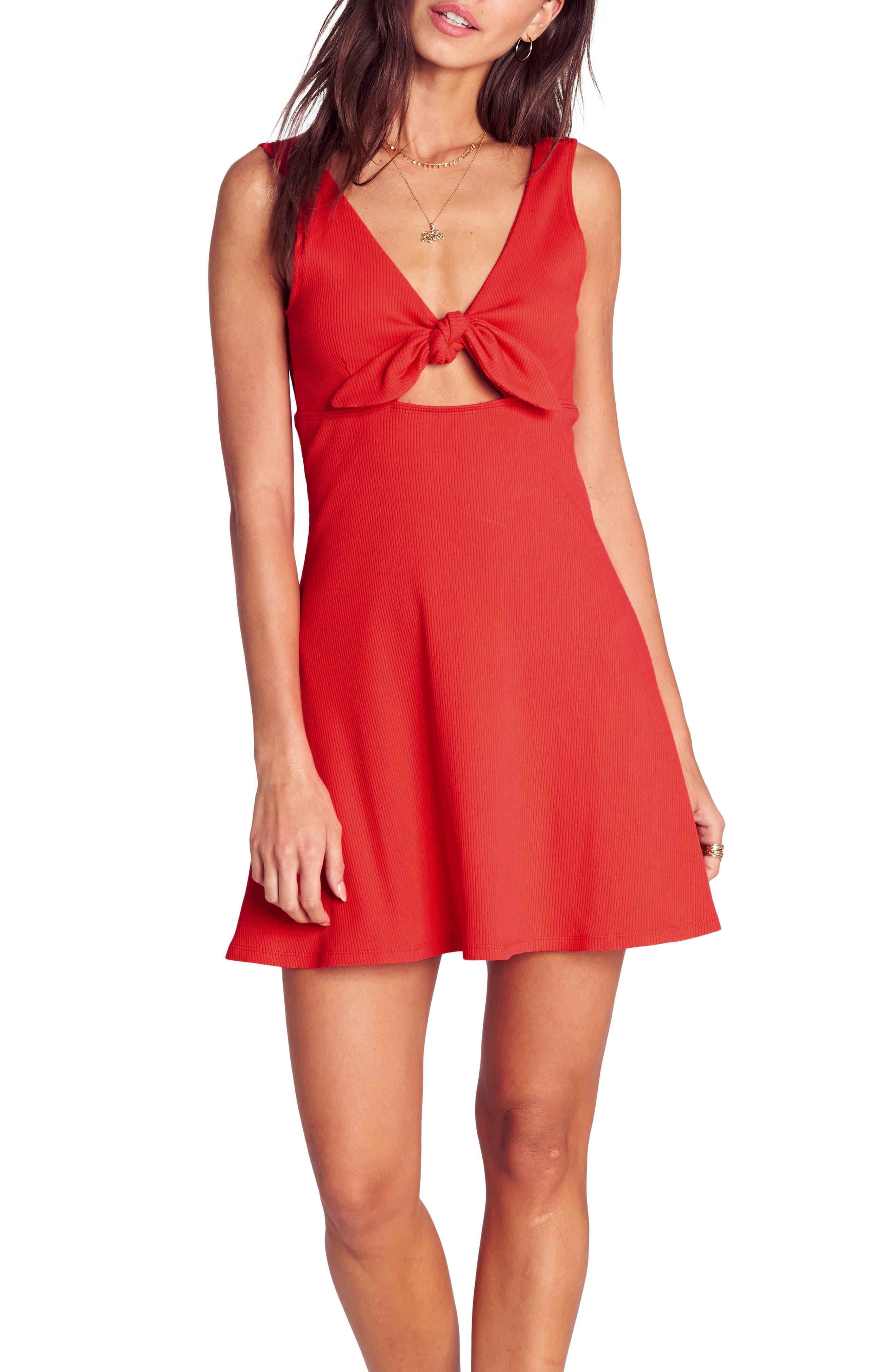 BILLABONG, Hola Holiday Cutout Minidress, Main thumbnail 1, color, SUNSET RED