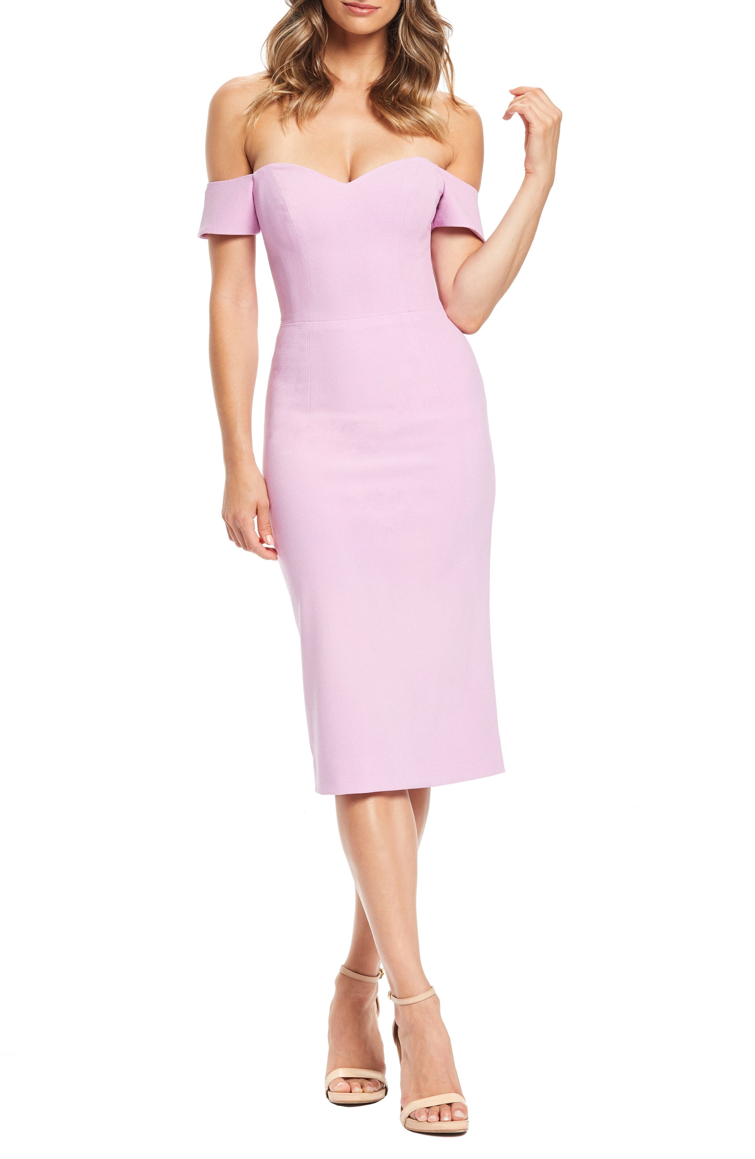 DRESS THE POPULATION, Bailey Off the Shoulder Body-Con Dress, Main thumbnail 1, color, LAVENDER