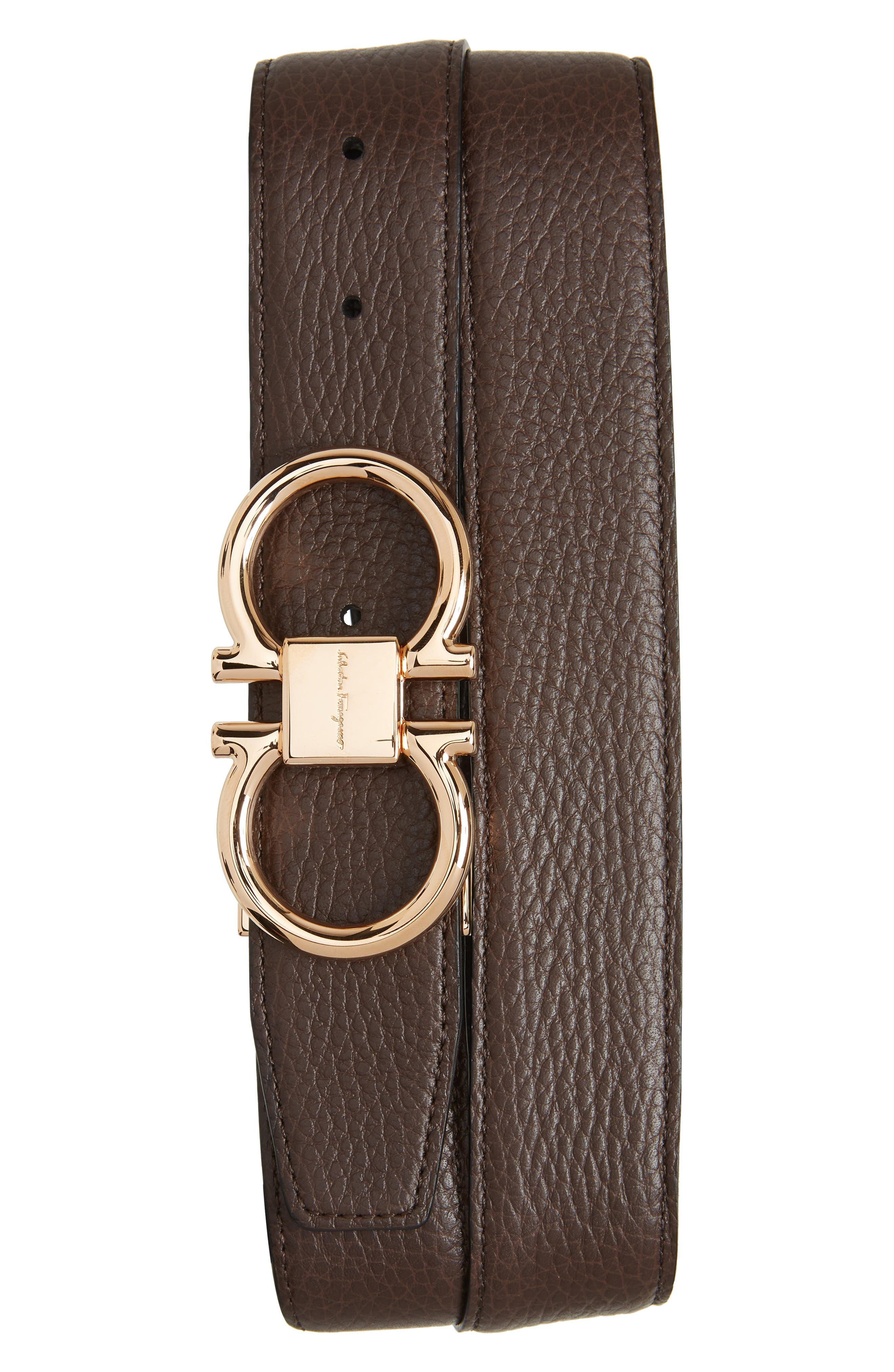SALVATORE FERRAGAMO, Double Gancio Leather Belt, Main thumbnail 1, color, HICKORY/ NERO
