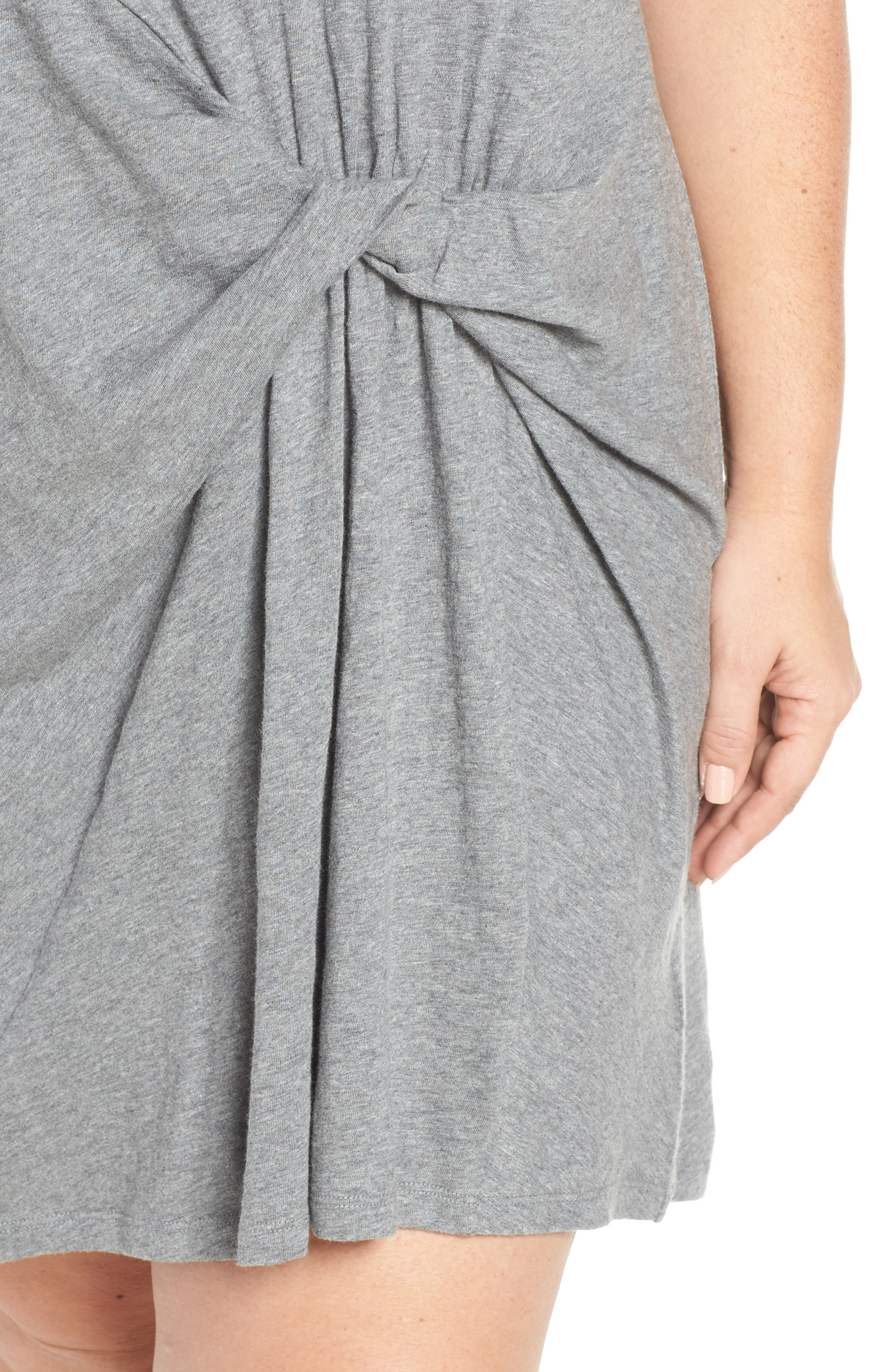 CASLON<SUP>®</SUP>, Knot Front T-Shirt Dress, Alternate thumbnail 5, color, GREY DARK HEATHER