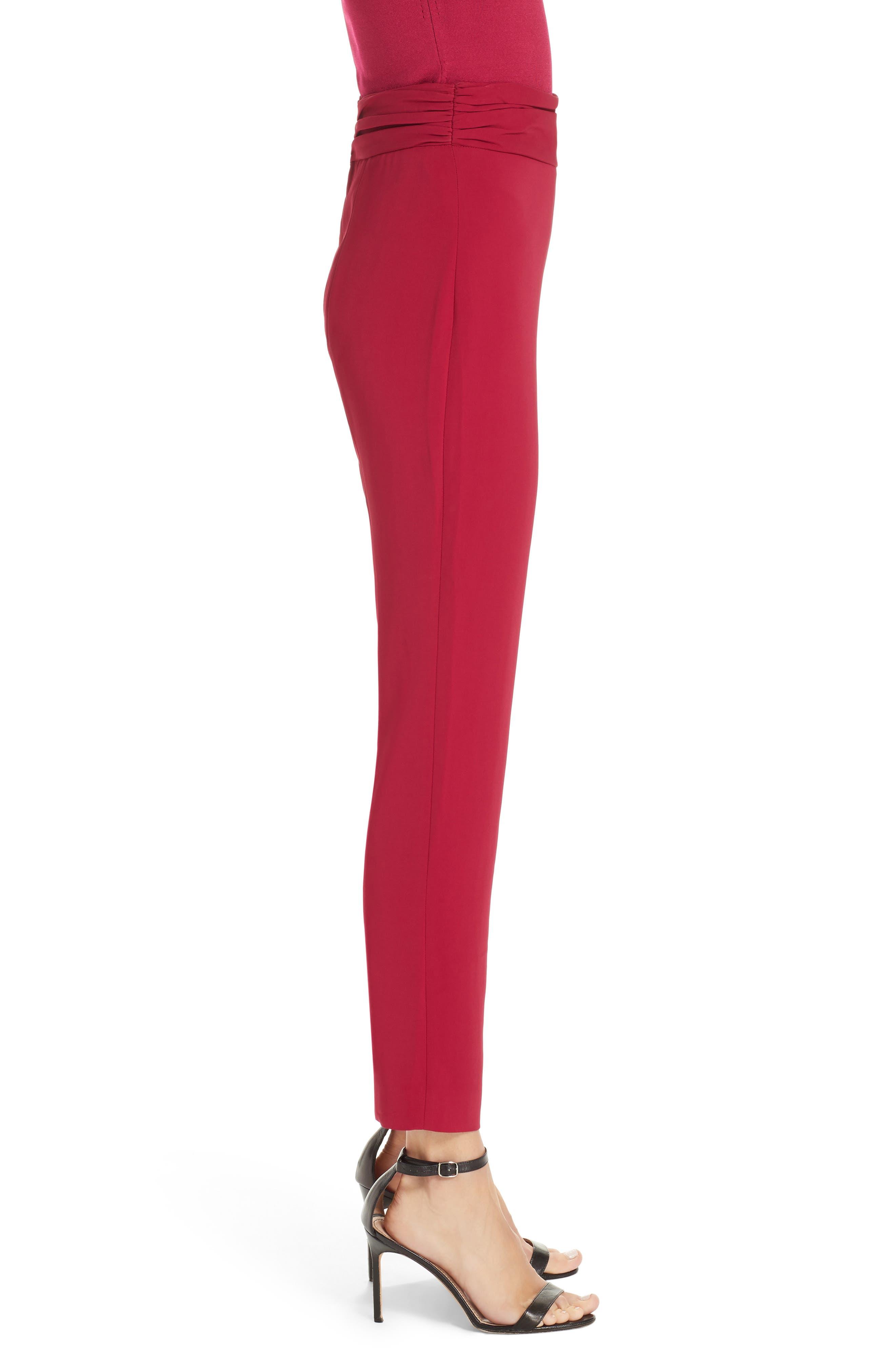 CUSHNIE, High Waist Pants, Alternate thumbnail 3, color, CAMELLIA