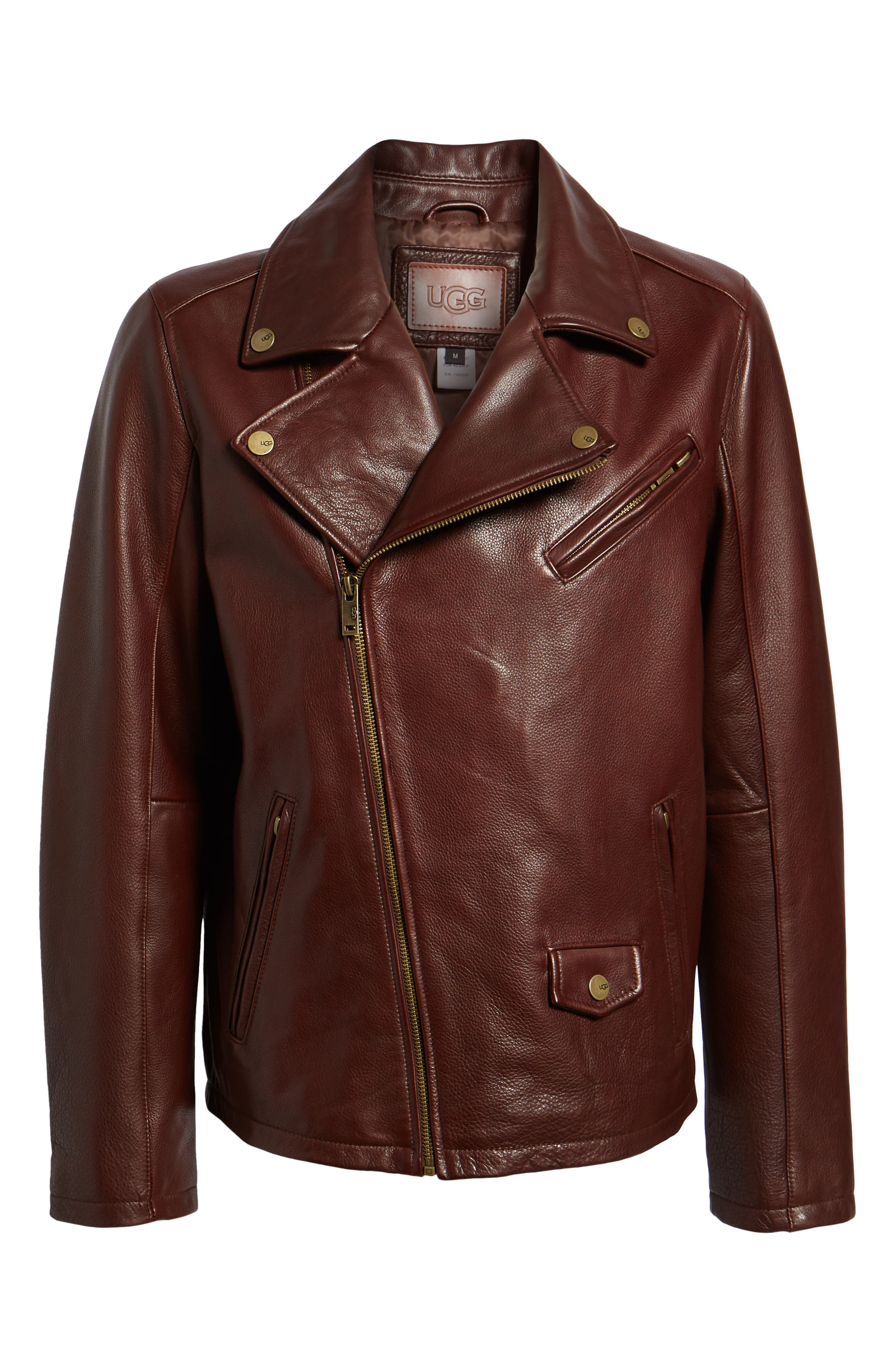 UGG<SUP>®</SUP>, Leather Moto Jacket, Alternate thumbnail 5, color, DARK CHESTNUT