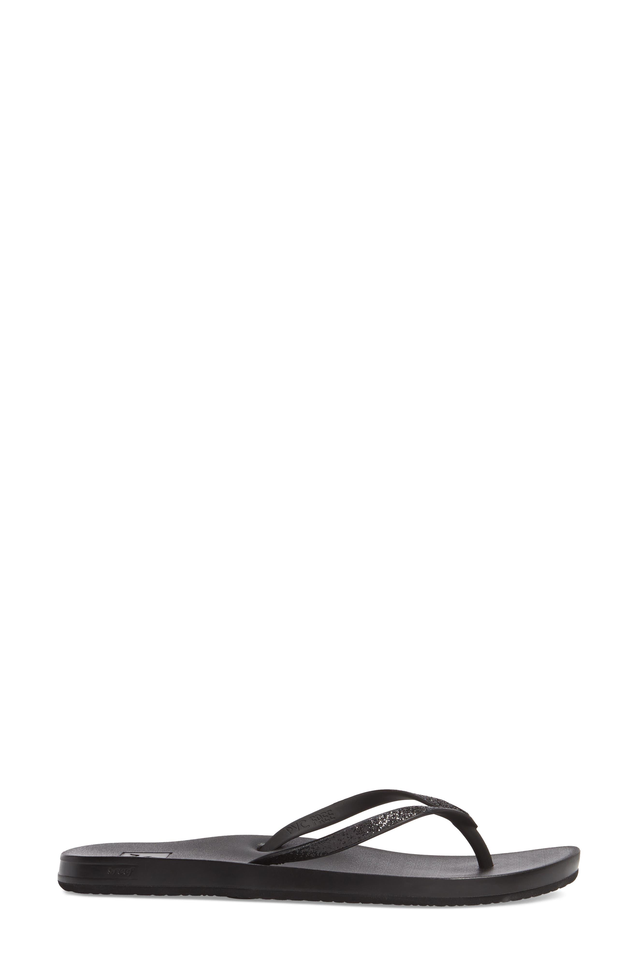 REEF, Cushion Bounce Stargazer Flip Flop, Alternate thumbnail 3, color, BLACK