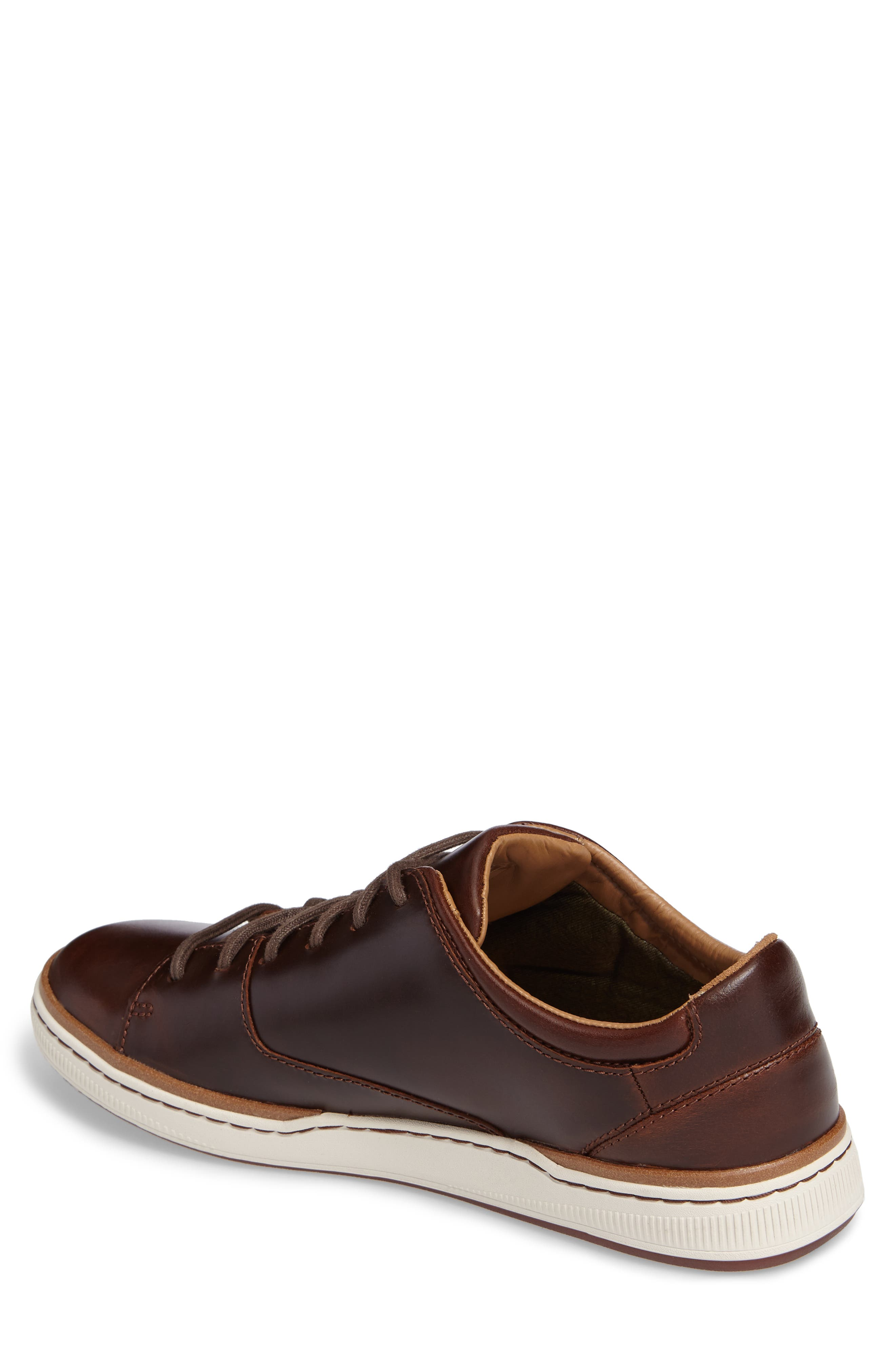 CLARKS<SUP>®</SUP>, Norsen Lace Sneaker, Alternate thumbnail 2, color, DARK TAN LEATHER