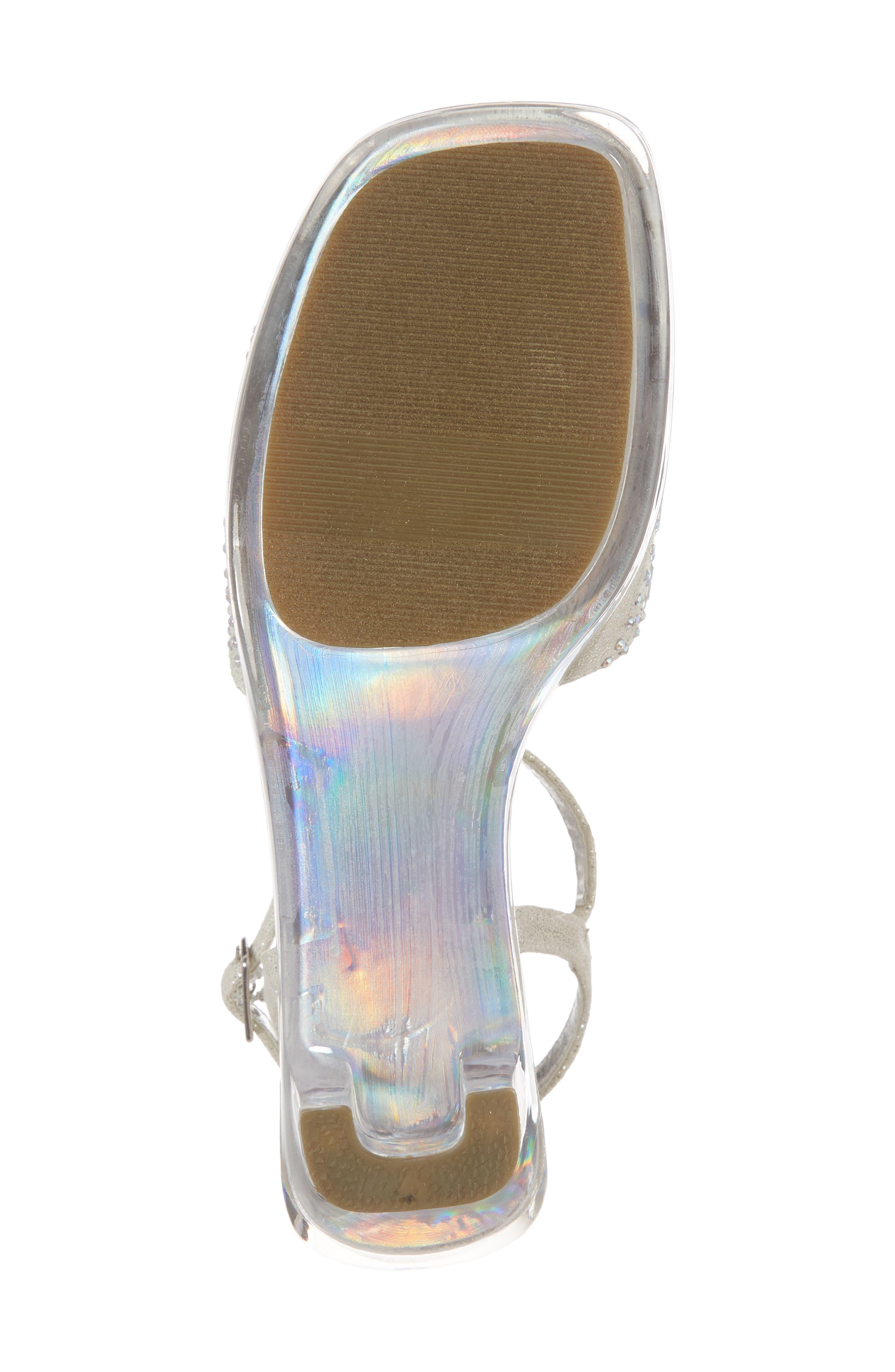 REACTION KENNETH COLE, Cind-R-Ella Embellished Sandal, Alternate thumbnail 6, color, SILVER