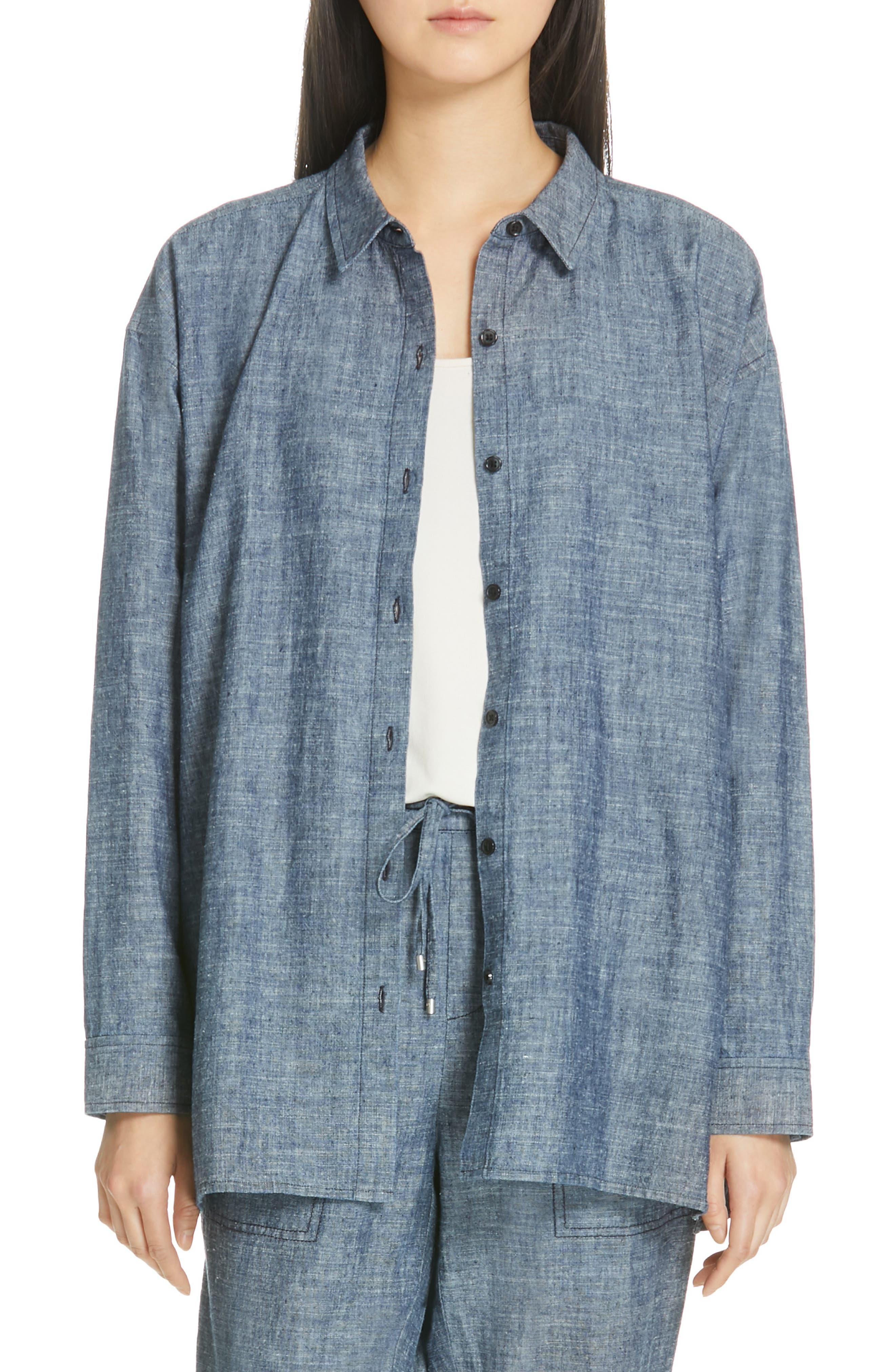 EILEEN FISHER, Woven Top, Main thumbnail 1, color, DENIM