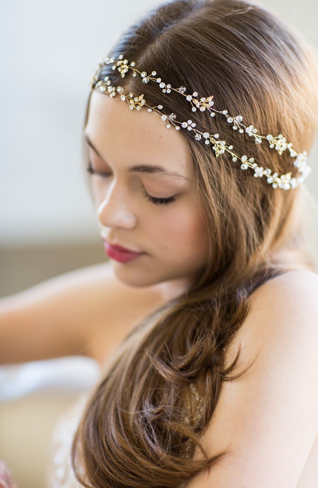 BRIDES & HAIRPINS, 'Gia' Double Banded Halo Headpiece, Alternate thumbnail 3, color, 14 K GOLD